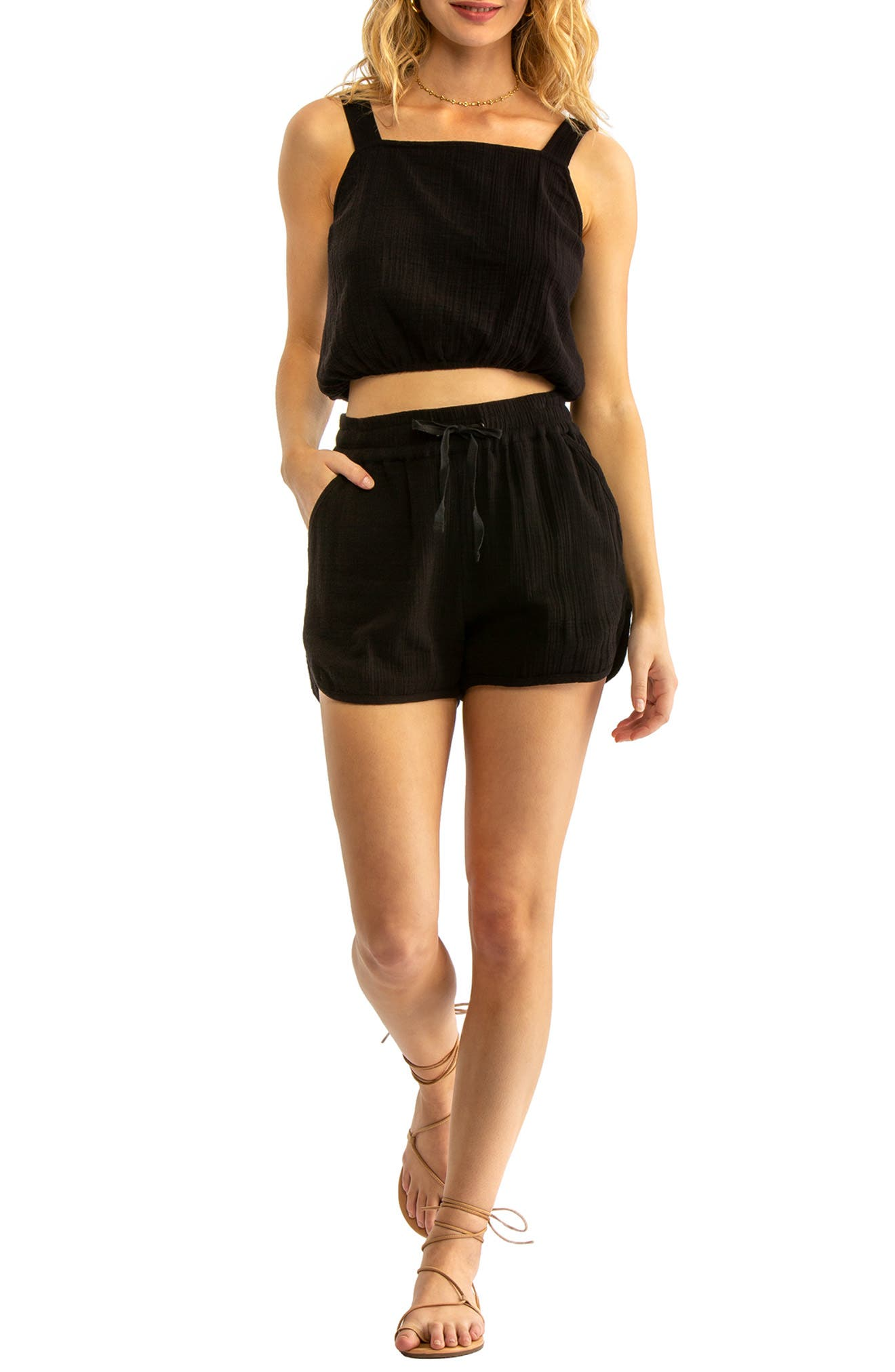 TAVIK, Rian Cover-Up Shorts, Alternate thumbnail 5, color, BLACK