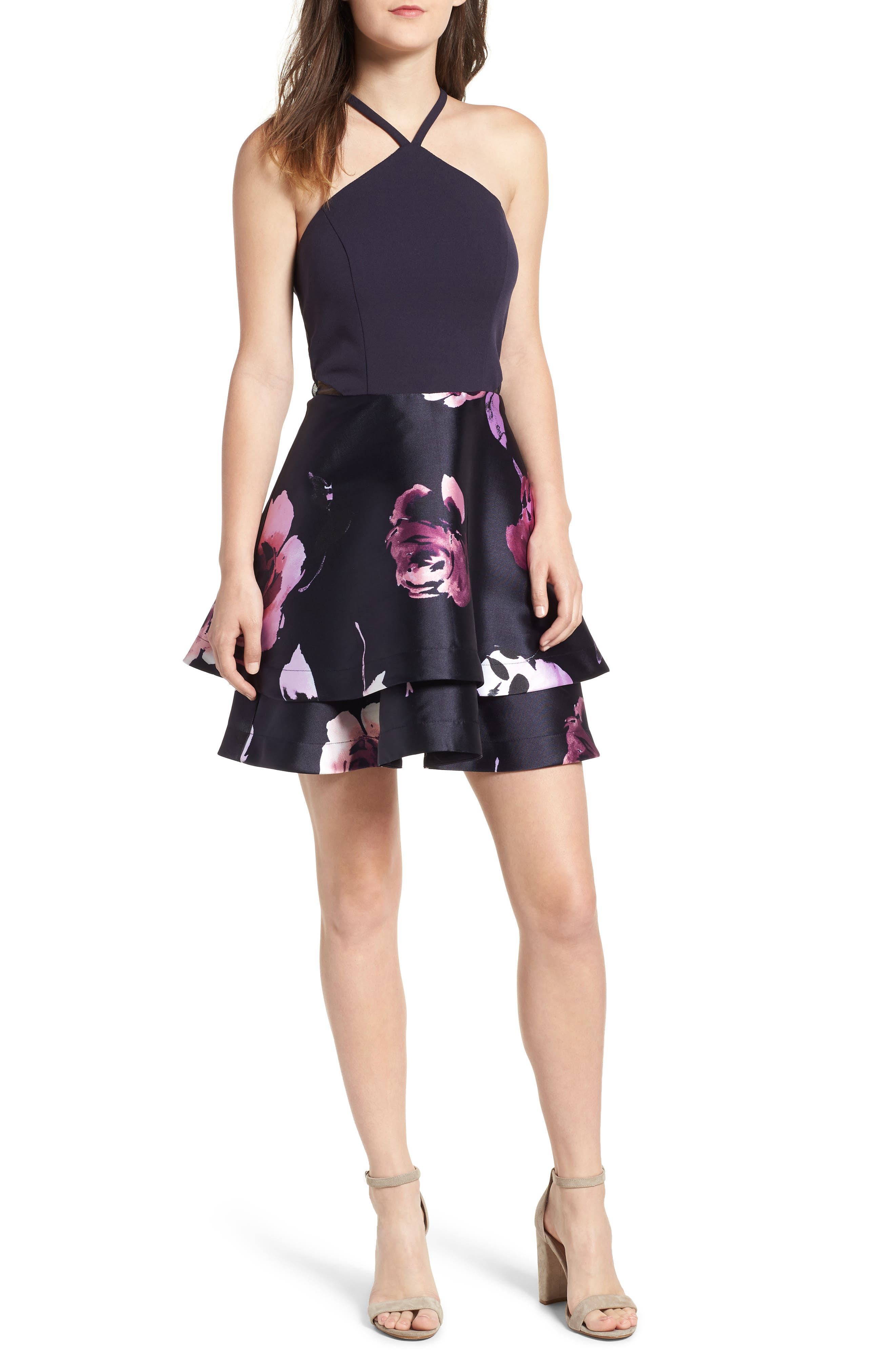 SPEECHLESS, Floral Fit & Flare Dress, Main thumbnail 1, color, NAVY/ BLUSH