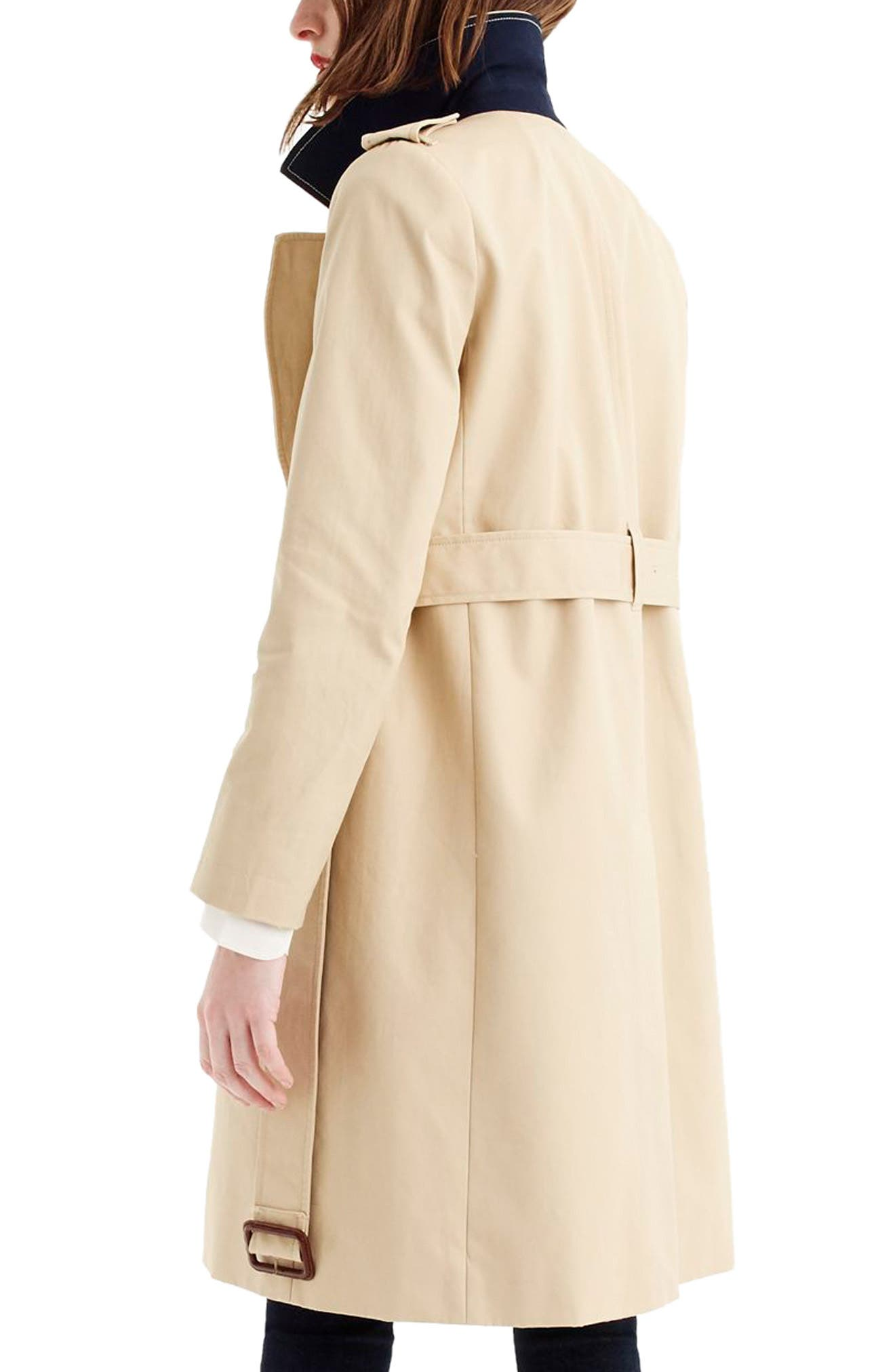 J.CREW, 2011 Icon Trench Coat, Alternate thumbnail 2, color, VINTAGE KHAKI