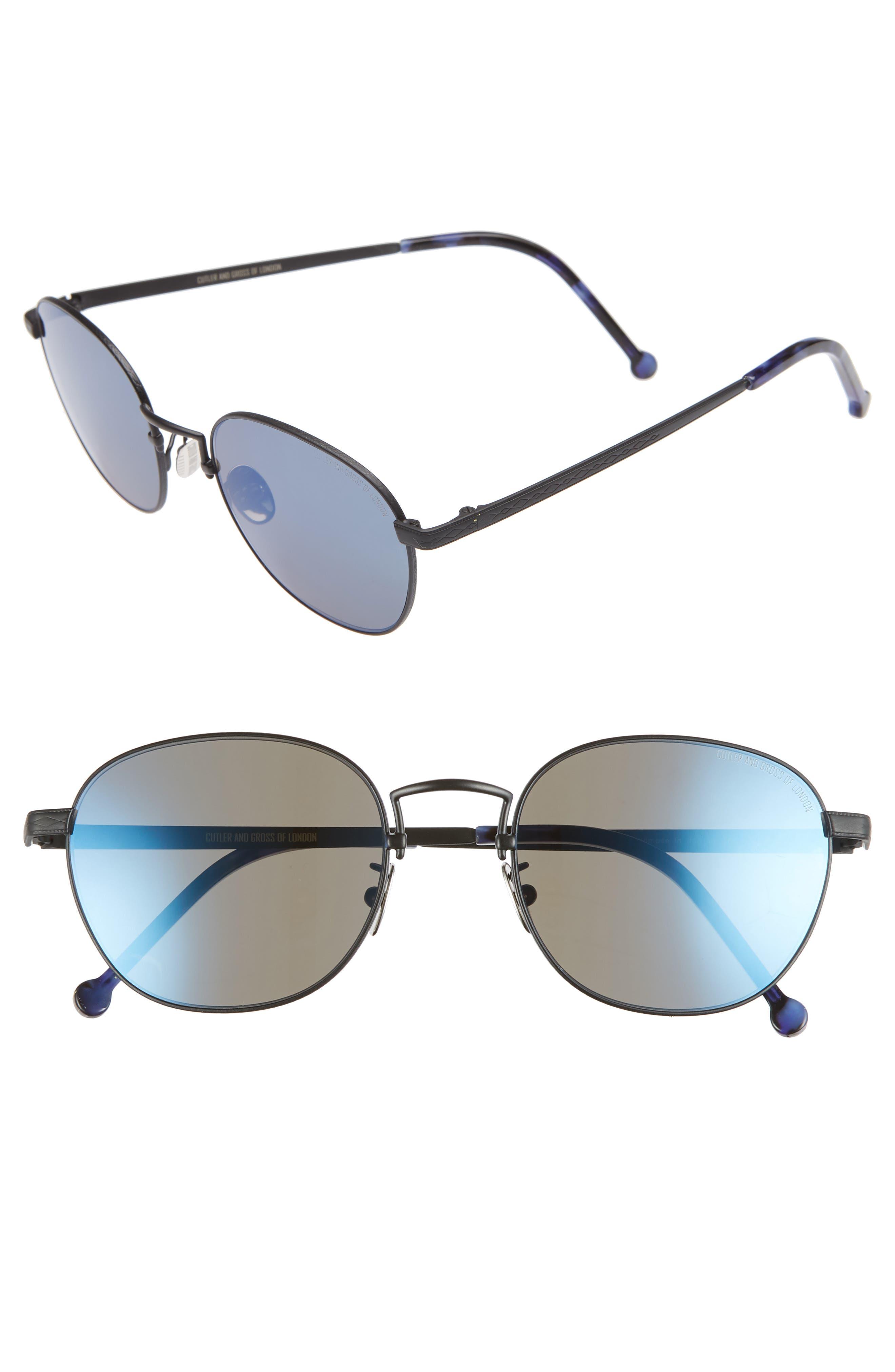 CUTLER AND GROSS, 52mm Polarized Round Sunglasses, Main thumbnail 1, color, SATIN PALLADIUM/ BLUE