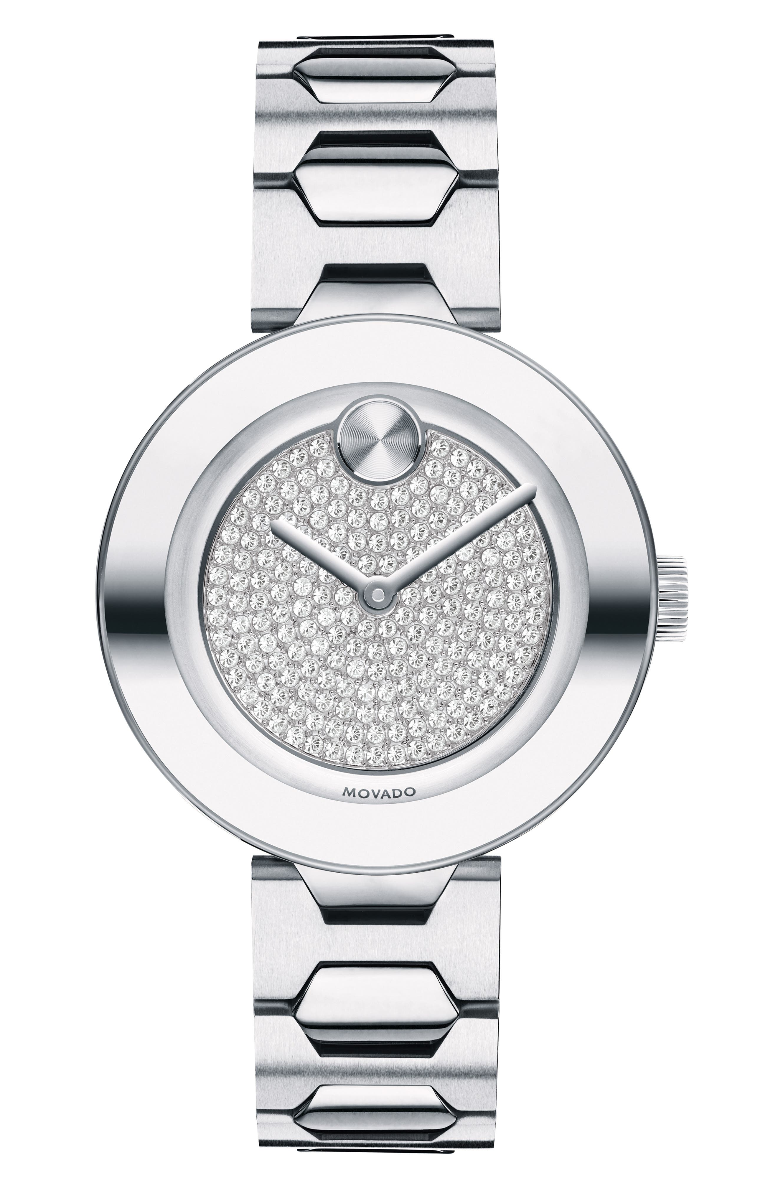 MOVADO, Bold Pavé T-Bar Bracelet Watch, 32mm, Main thumbnail 1, color, SILVER MULTI