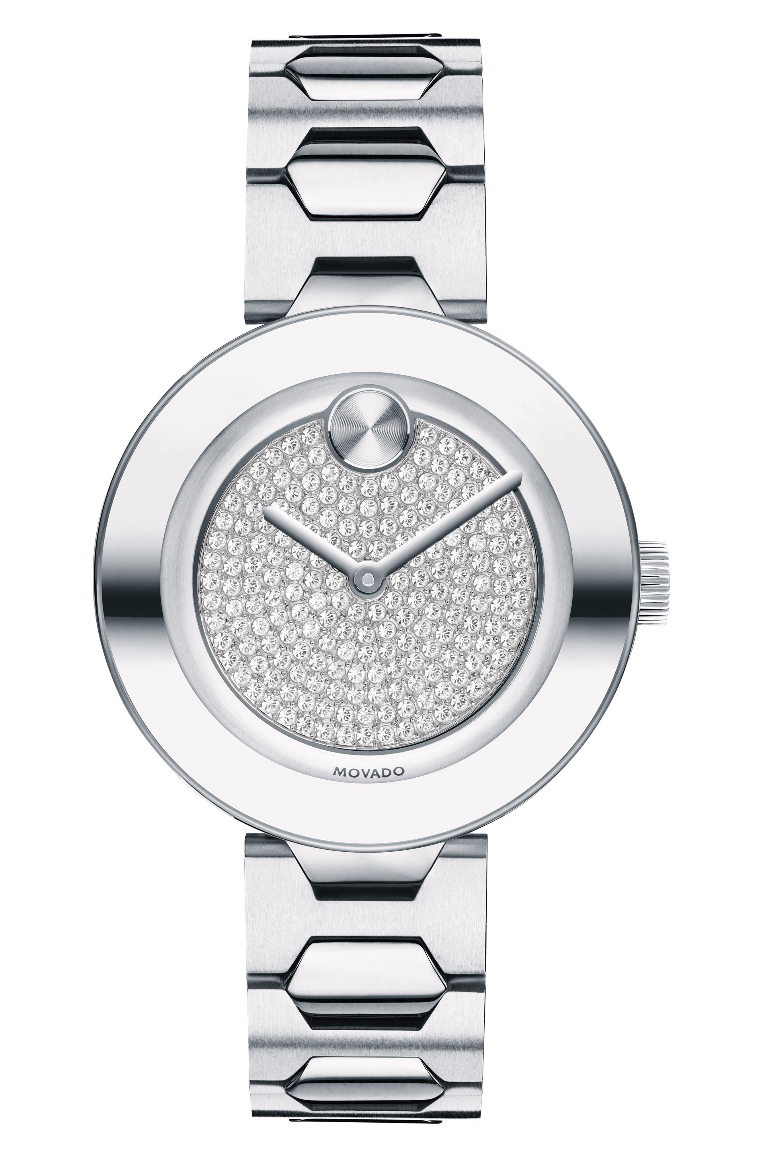 MOVADO Bold Pavé T-Bar Bracelet Watch, 32mm, Main, color, SILVER MULTI