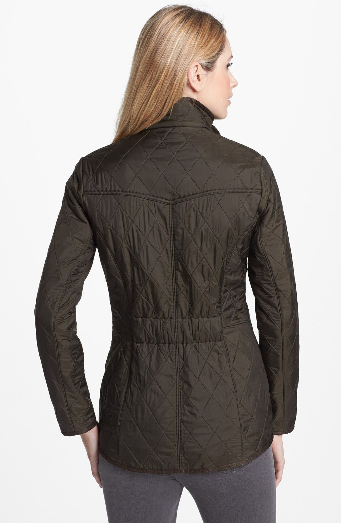BARBOUR, 'Cavalry' Quilted Jacket, Alternate thumbnail 8, color, DARK OLIVE/ OLIVE