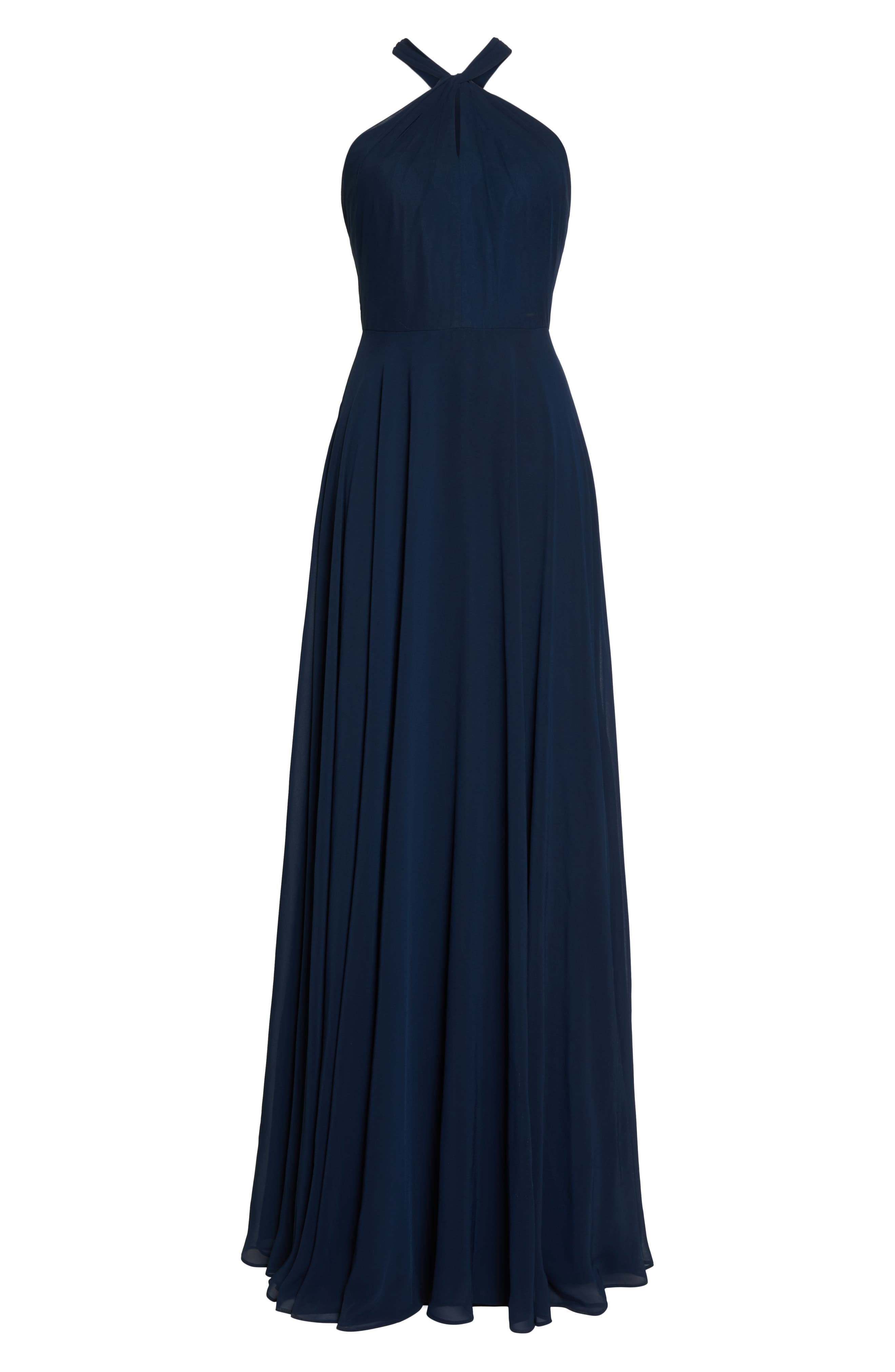 JENNY YOO, Halle Halter Evening Dress, Alternate thumbnail 7, color, NAVY