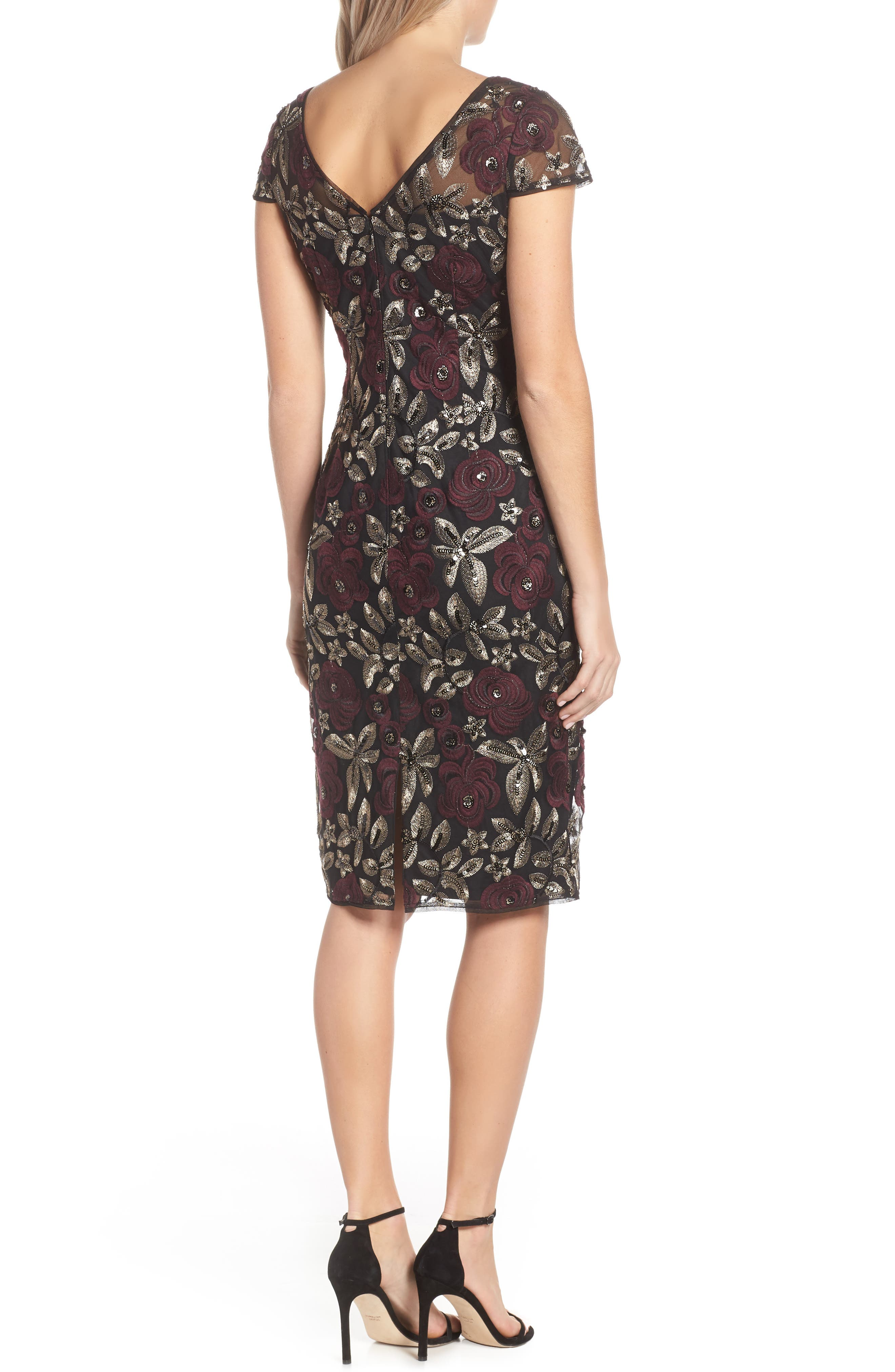 ADRIANNA PAPELL, Sequin Embroidered Cocktail Dress, Alternate thumbnail 2, color, 930