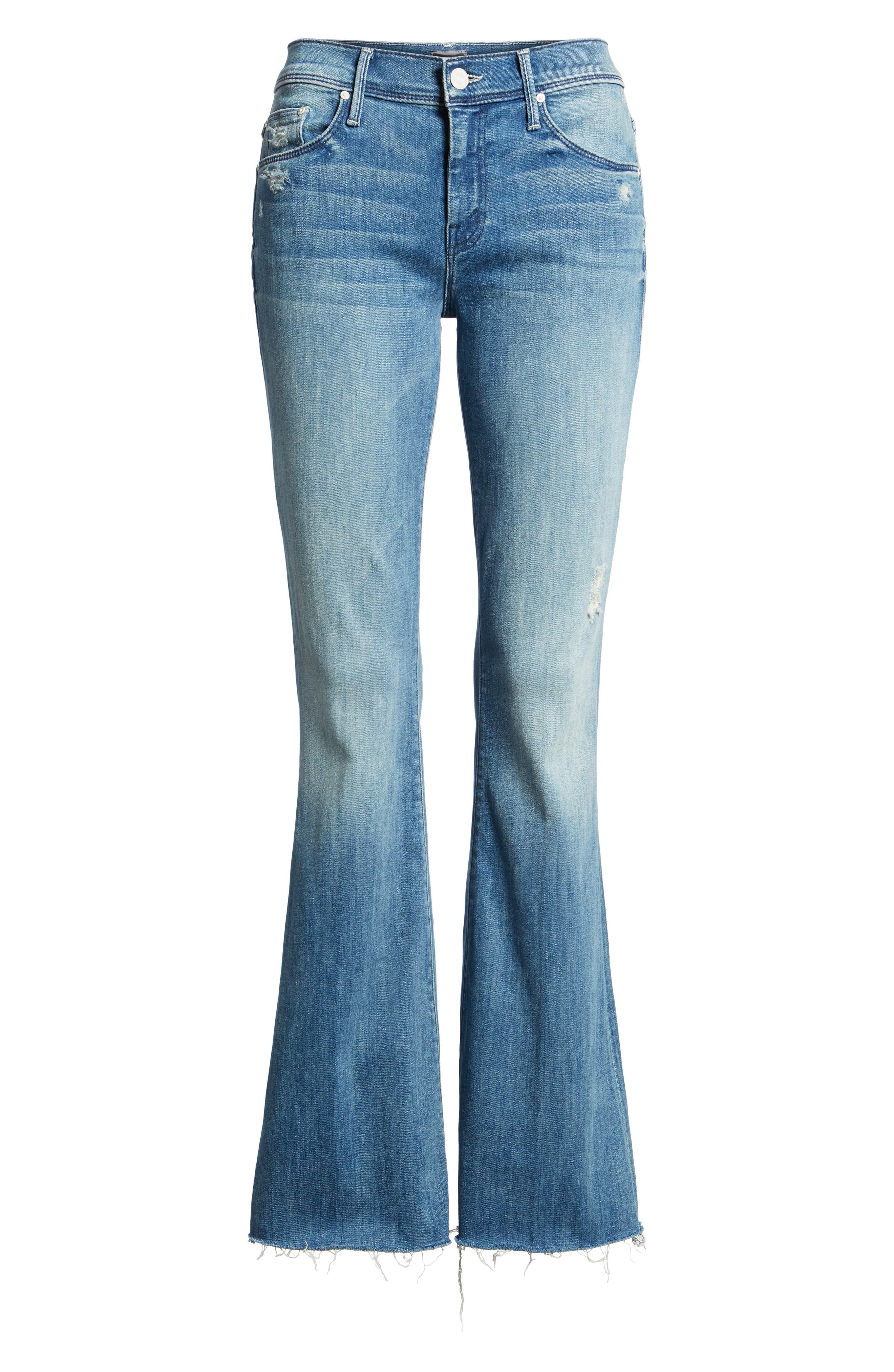 MOTHER Raw Hem Flare Jeans, Main, color, 420