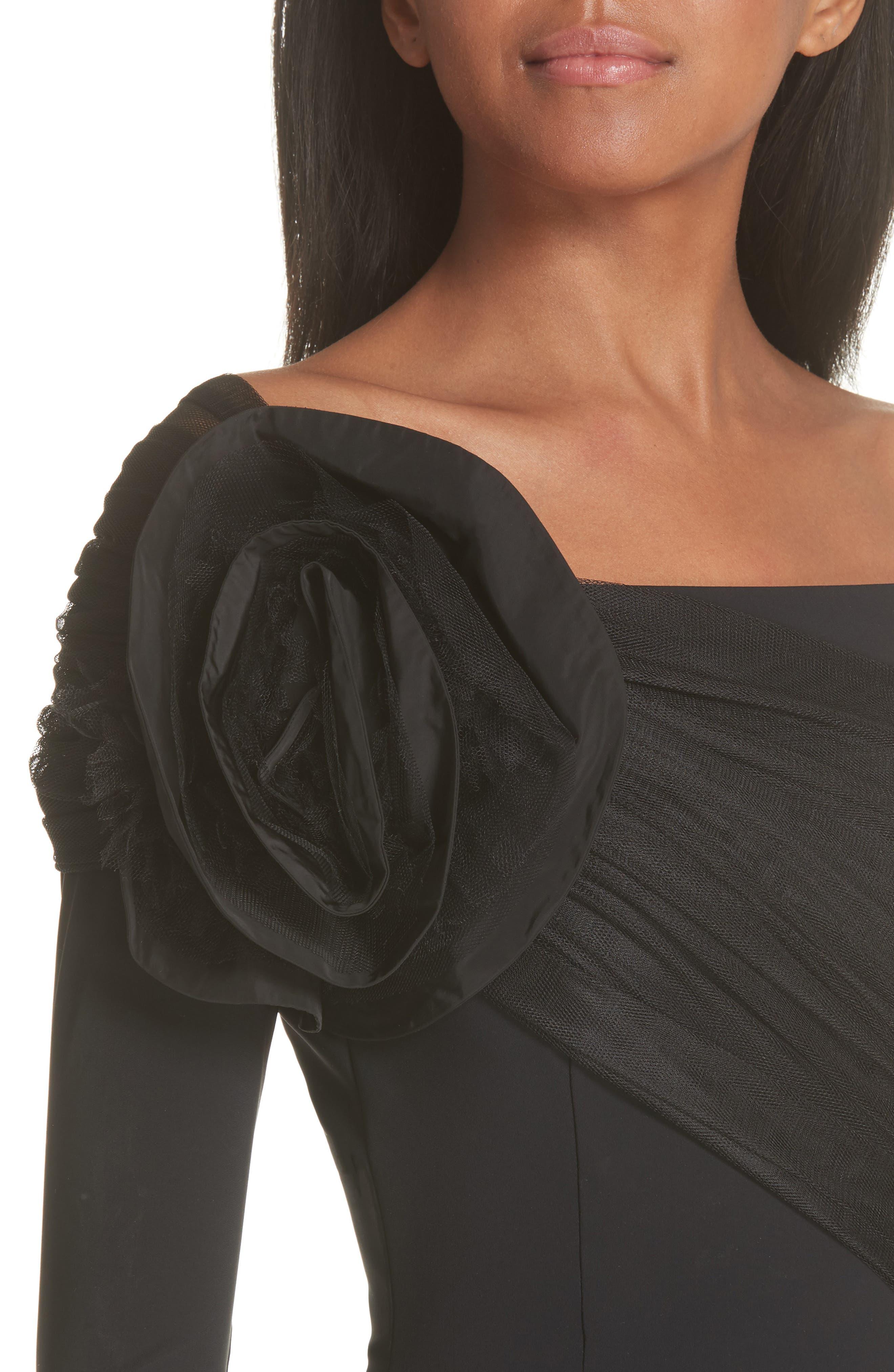 CHIARA BONI LA PETITE ROBE, Altyn Taffeta Rose Cocktail Dress, Alternate thumbnail 5, color, BLACK