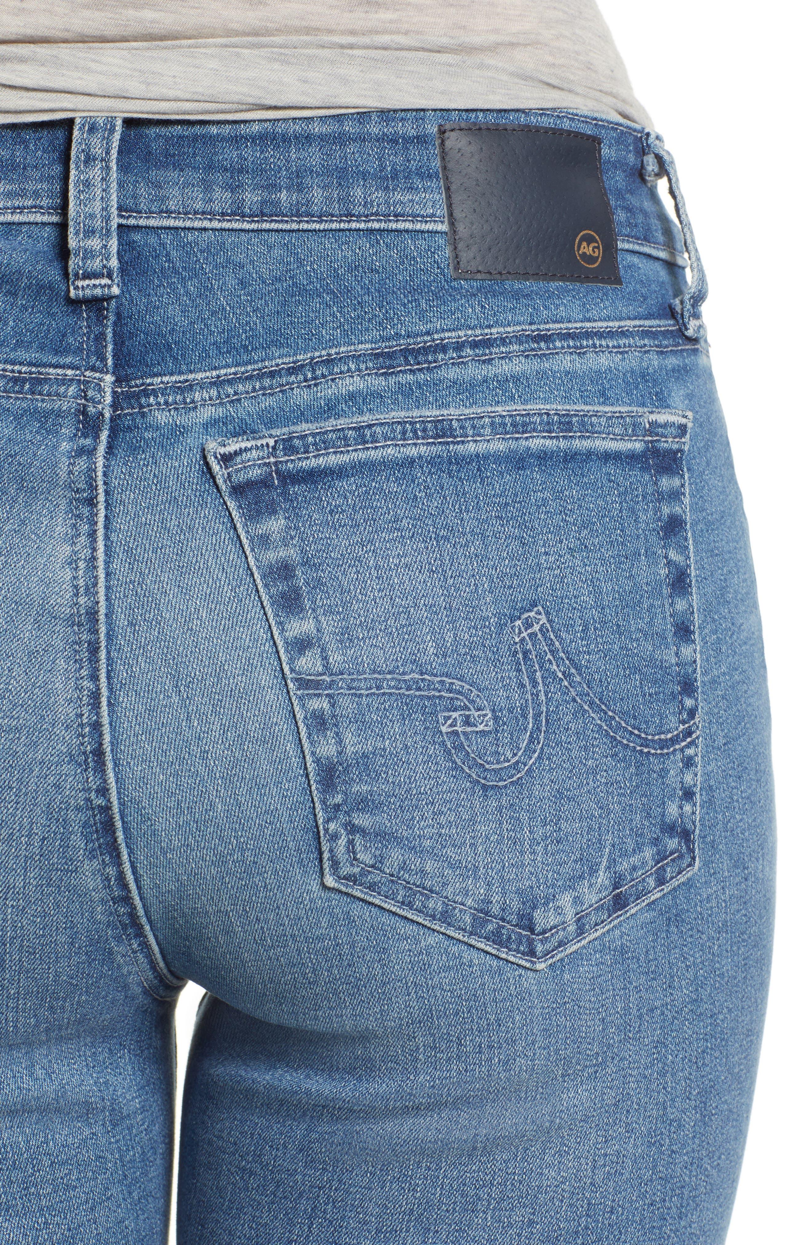 AG, Mari High Waist Slim Straight Leg Jeans, Alternate thumbnail 5, color, 16 YEARS SERENITY