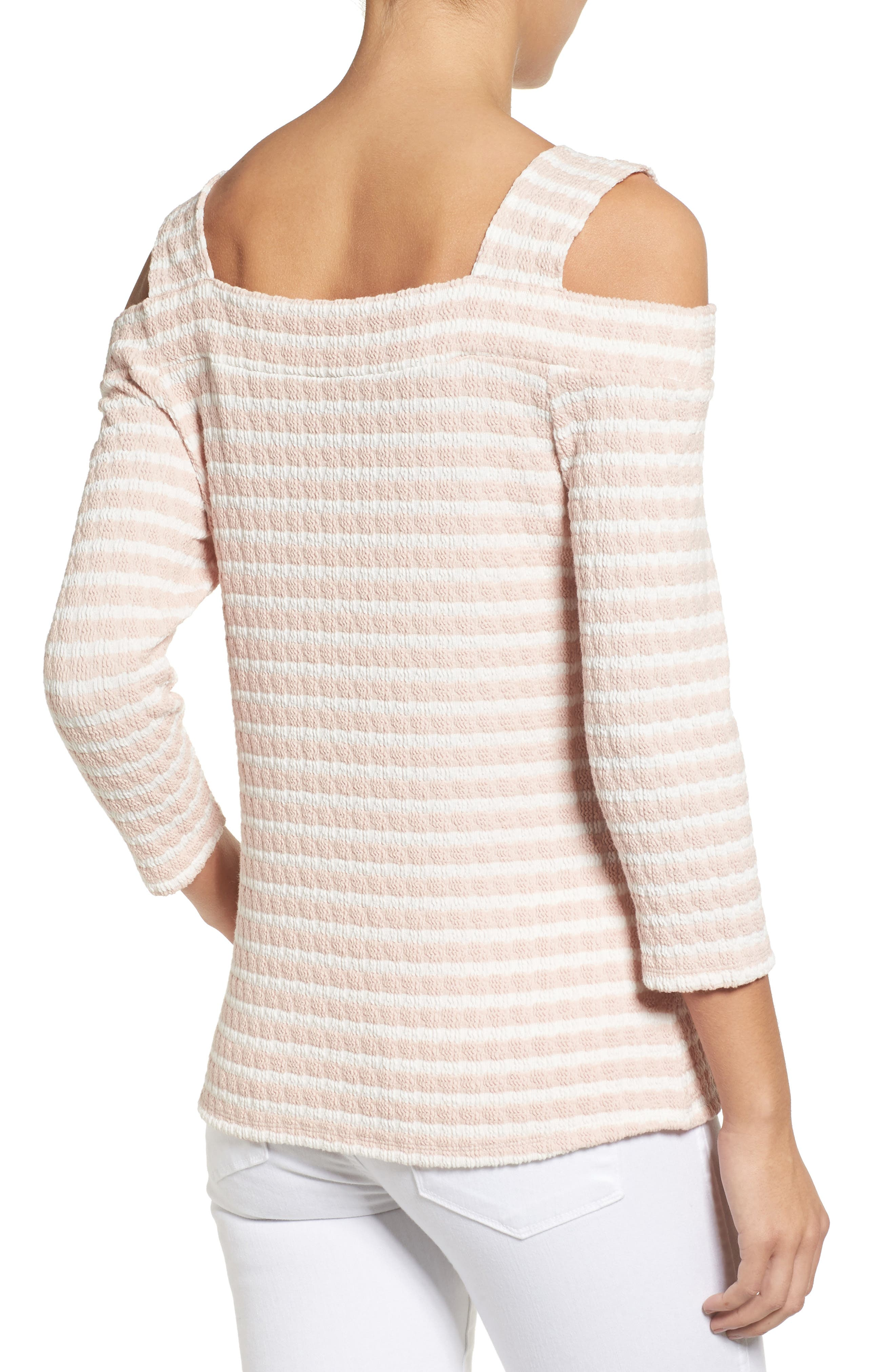 KUT FROM THE KLOTH, Fridi Texture Stripe Cold Shoulder Top, Alternate thumbnail 2, color, 194