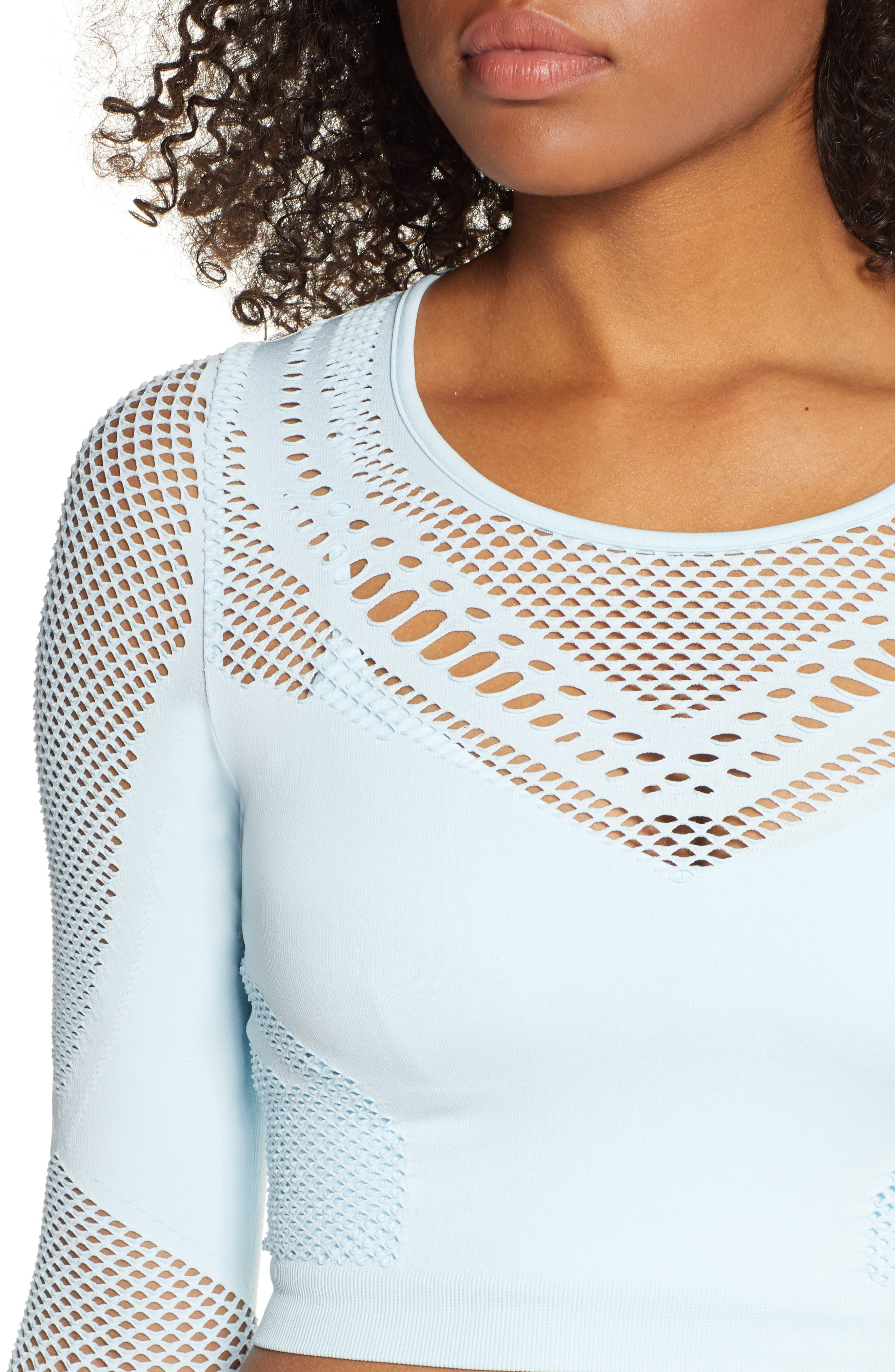 ALO, Siren Long Sleeve Crop Top, Alternate thumbnail 5, color, POWDER BLUE HEATHER