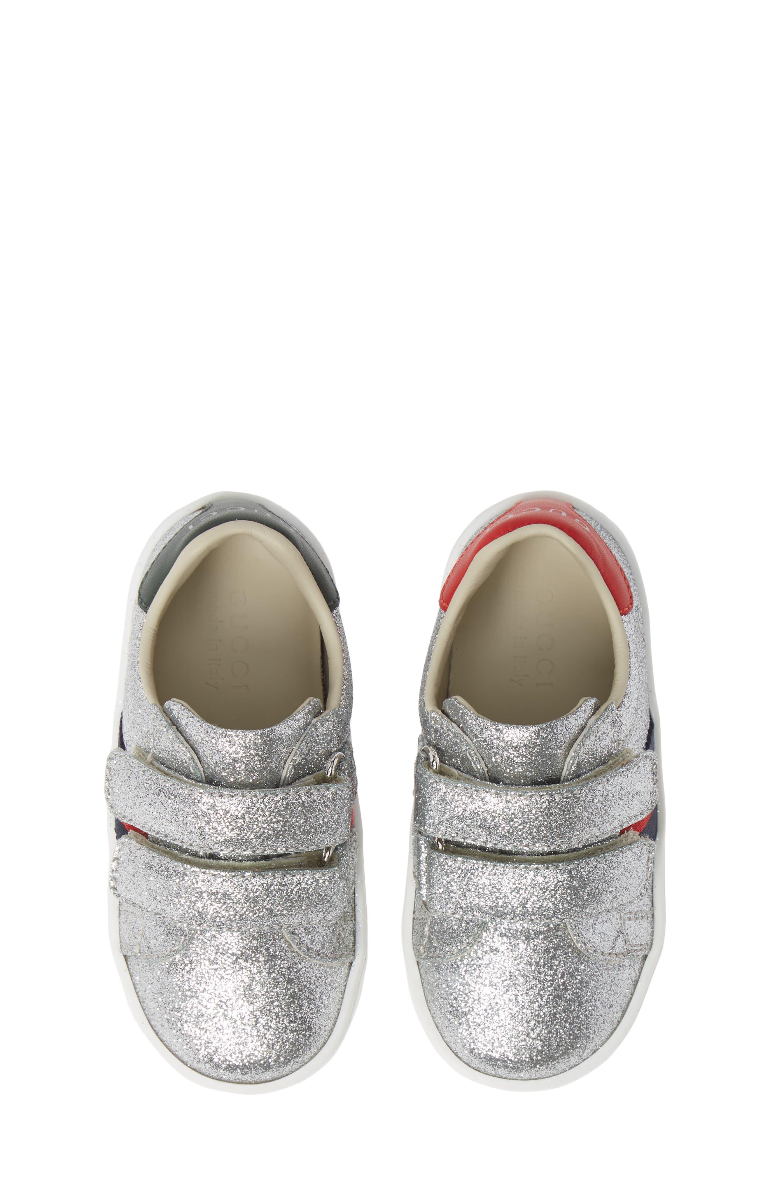 GUCCI New Ace Sneaker, Main, color, METALLIC SILVER