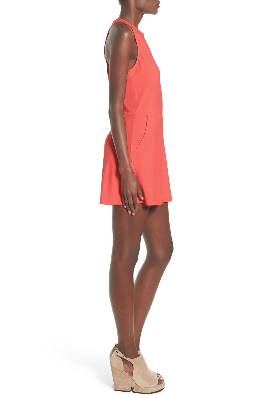 LEITH, Lace-Up Back Romper, Alternate thumbnail 4, color, 958