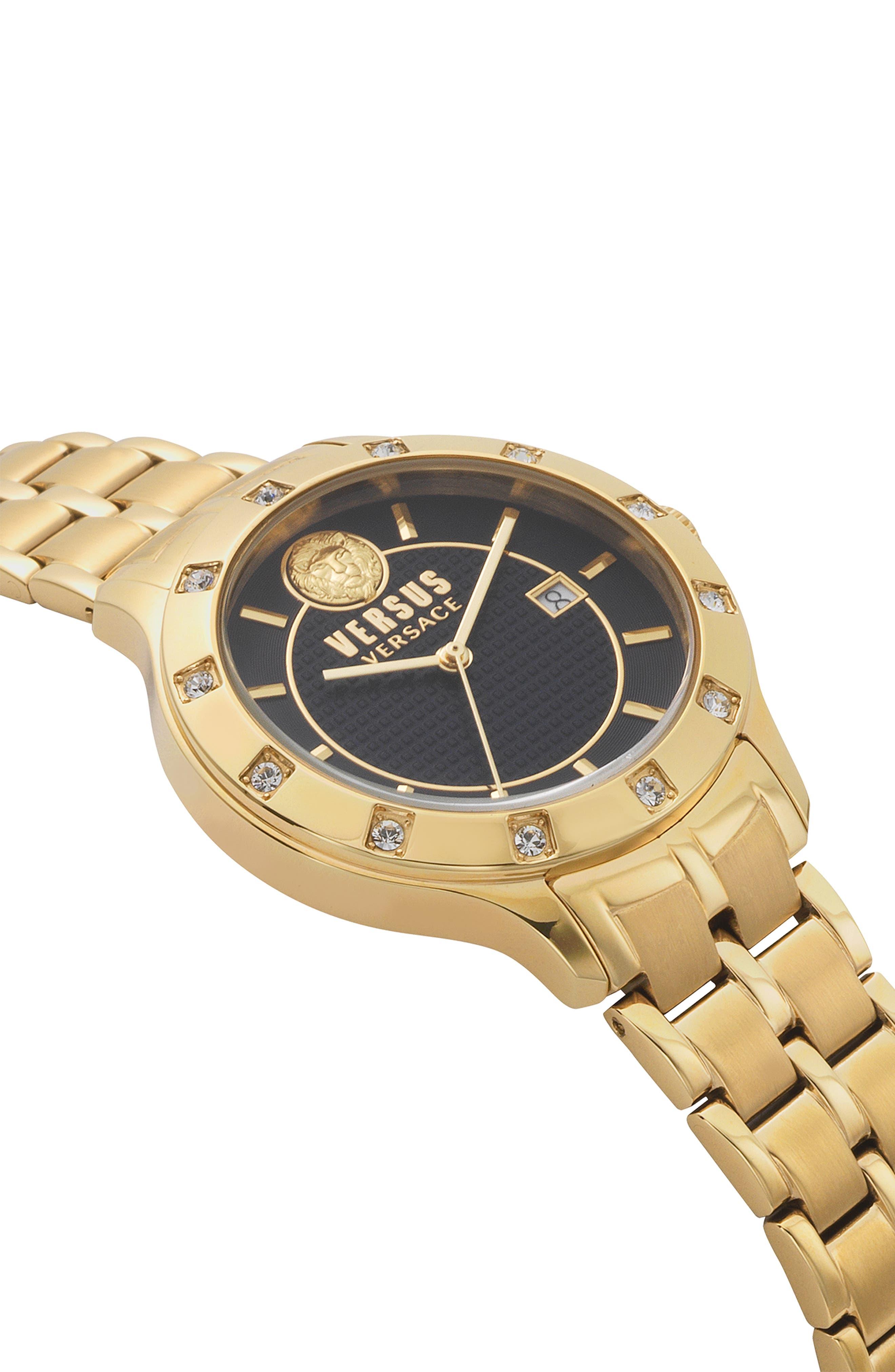 VERSUS VERSACE, Brackenfell Swarovski Bracelet Watch, 38mm, Alternate thumbnail 3, color, GOLD/ BLUE