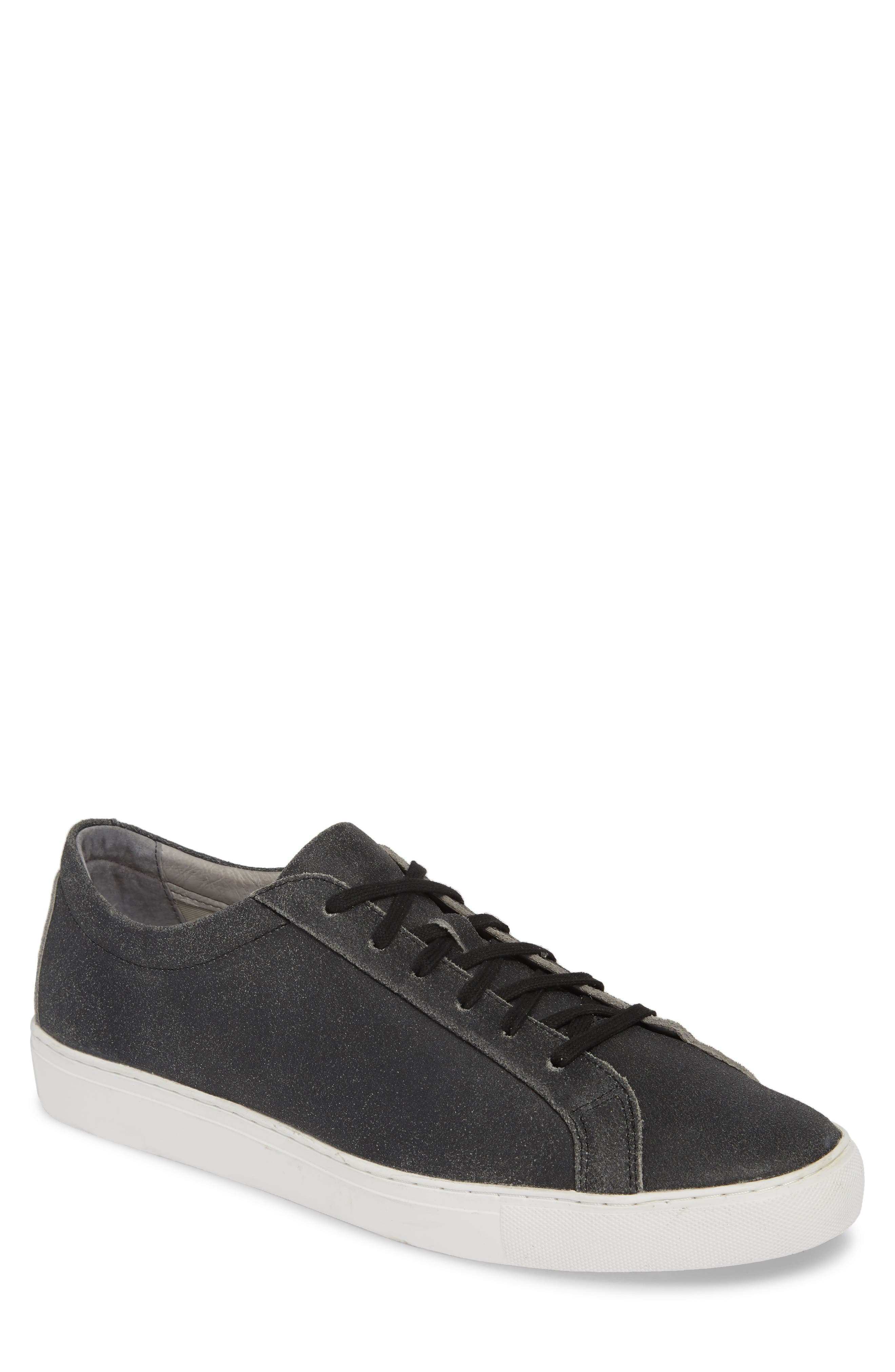 TCG, Kennedy Low Top Sneaker, Main thumbnail 1, color, CRACKED BLACK LEATHER