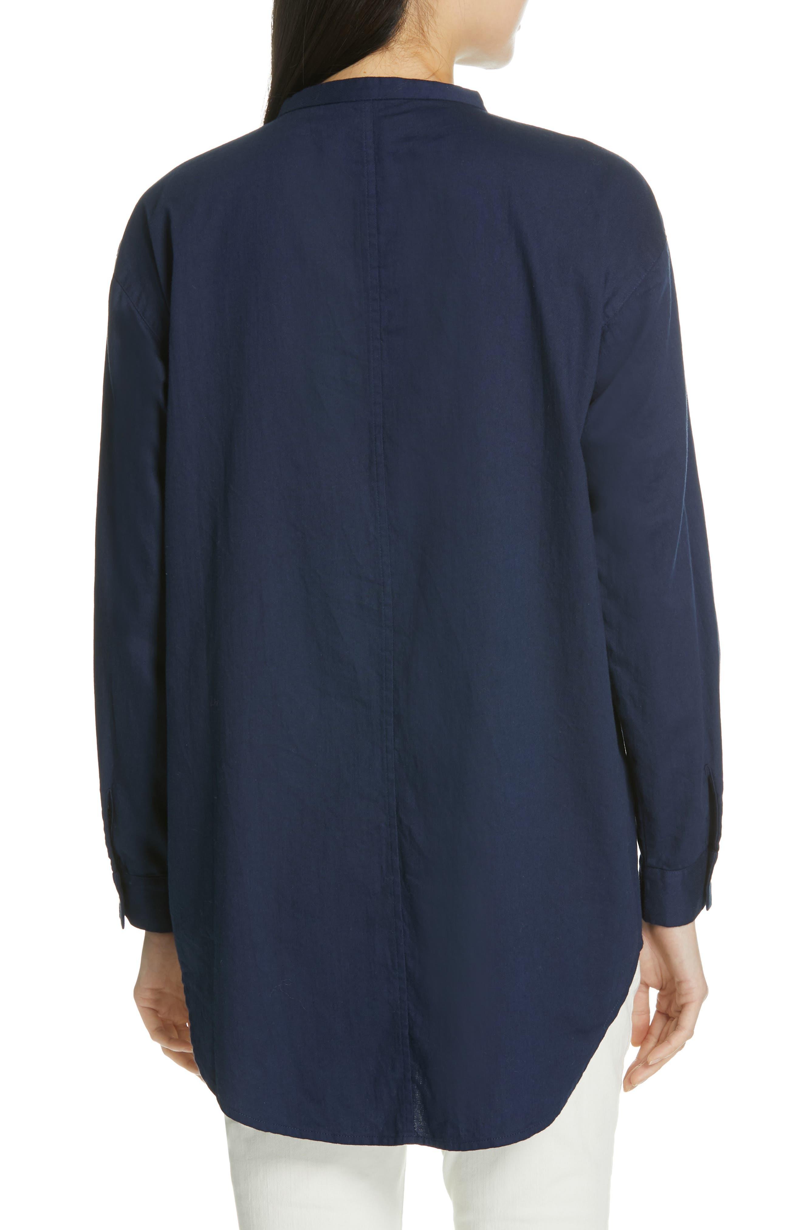 EILEEN FISHER, Mandarin Collar Organic Cotton Tunic Shirt, Alternate thumbnail 2, color, INDIGO