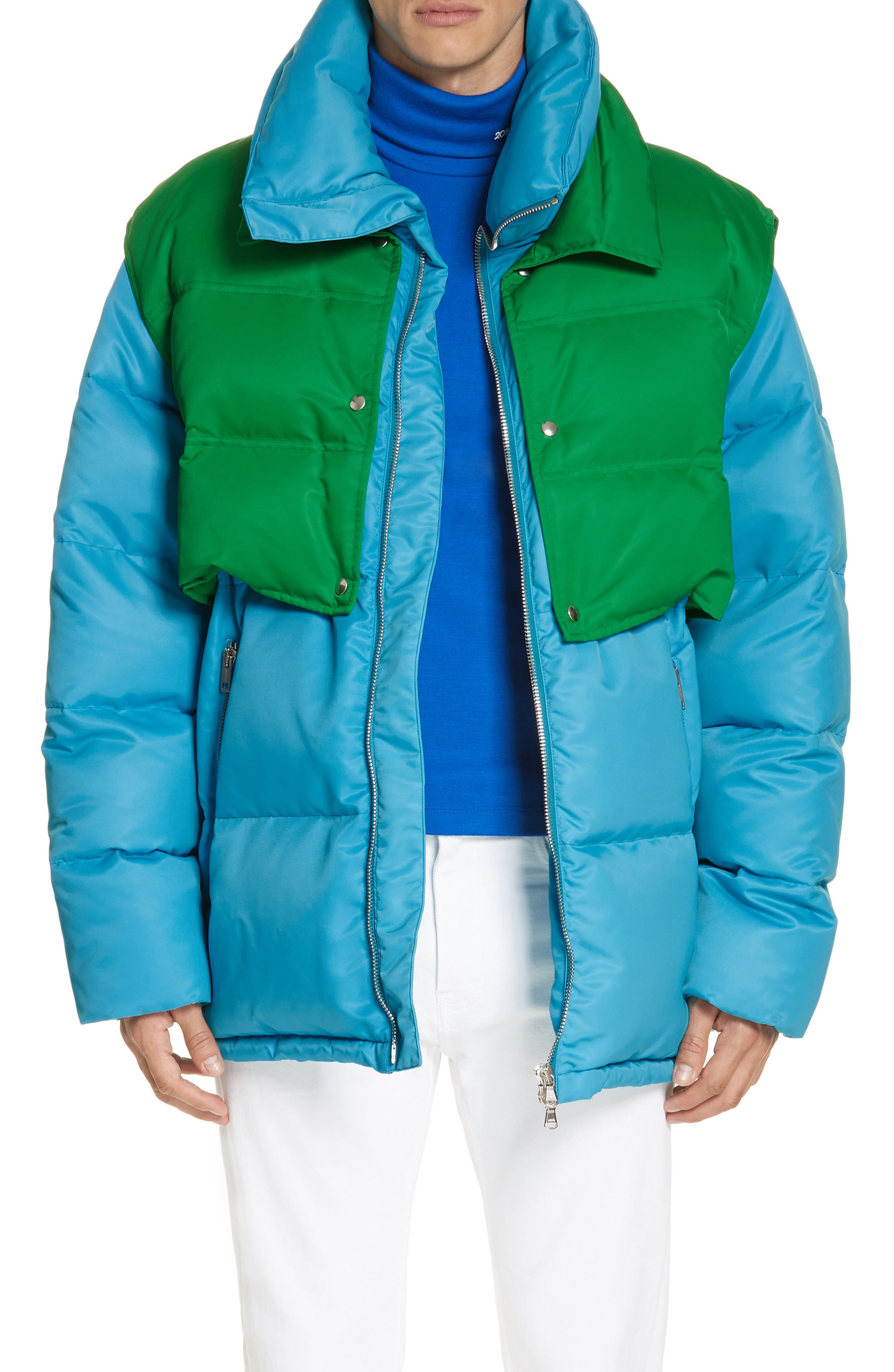 CALVIN KLEIN 205W39NYC, Water Repellent Quilted Puffer Jacket, Main thumbnail 1, color, RIVIERA BLUE SPRING GREEN