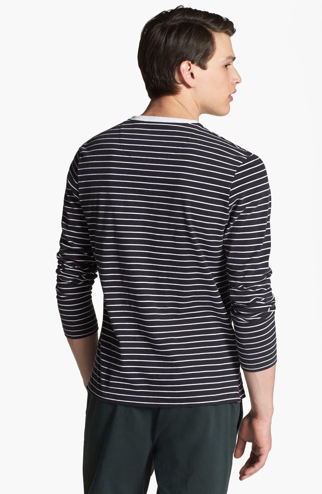 SHIPLEY & HALMOS, 'Spaniel' Stripe Long Sleeve T-Shirt, Alternate thumbnail 3, color, 414