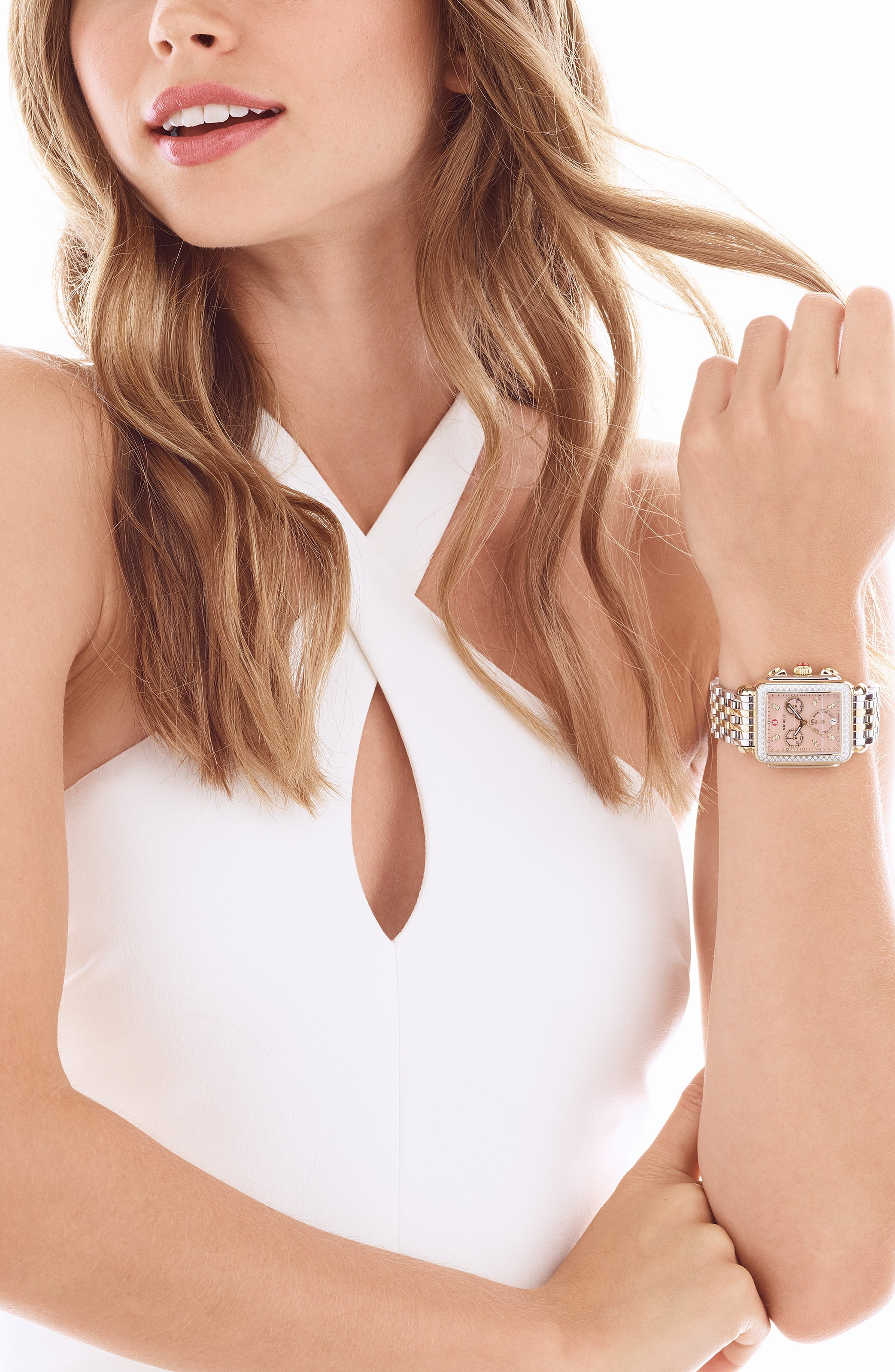 MICHELE, Deco 18mm Two-Tone Bracelet Watchband, Alternate thumbnail 2, color, SILVER/ GOLD