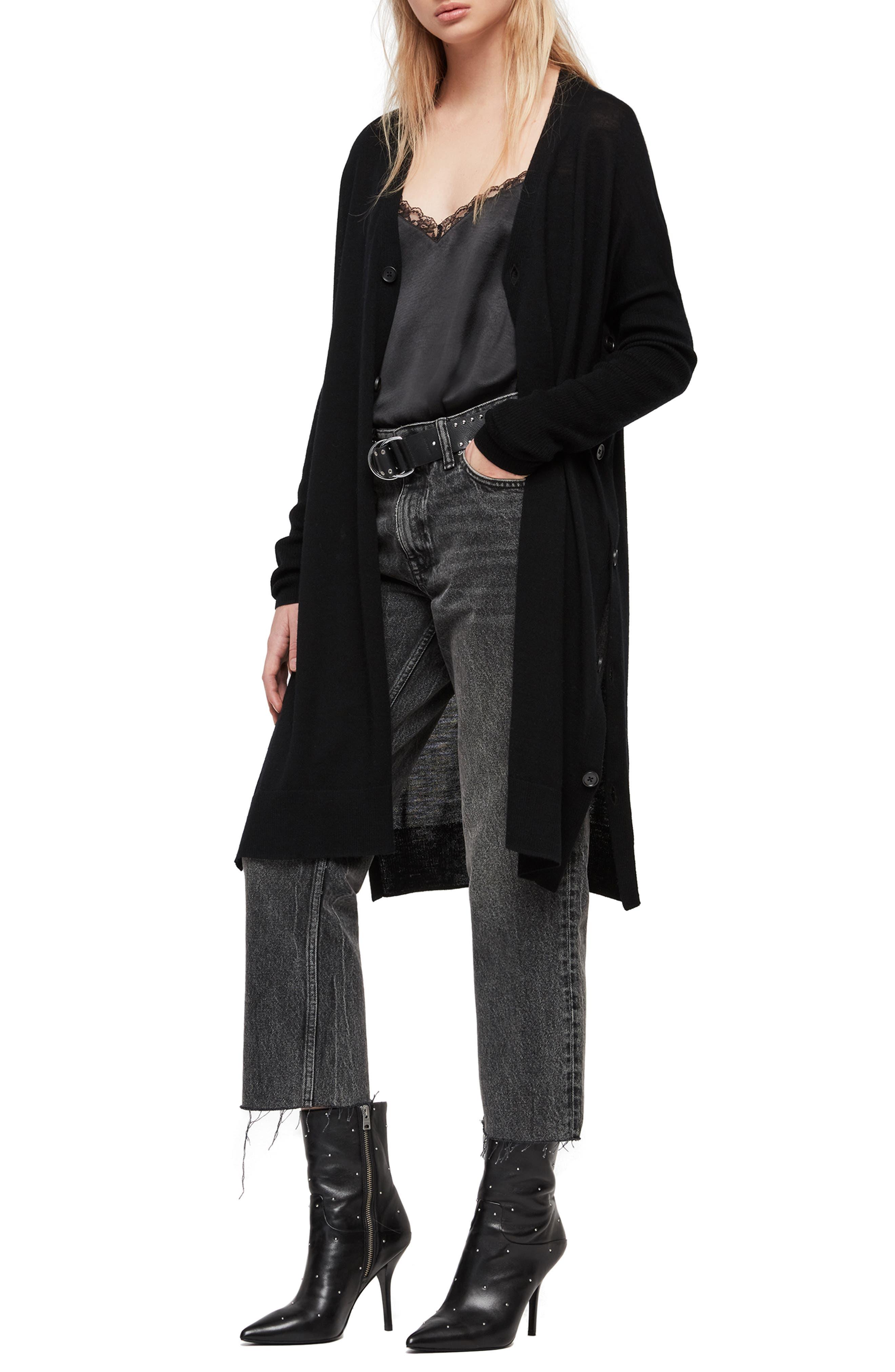 ALLSAINTS, Mori Merino Wool Cardigan, Alternate thumbnail 3, color, BLACK