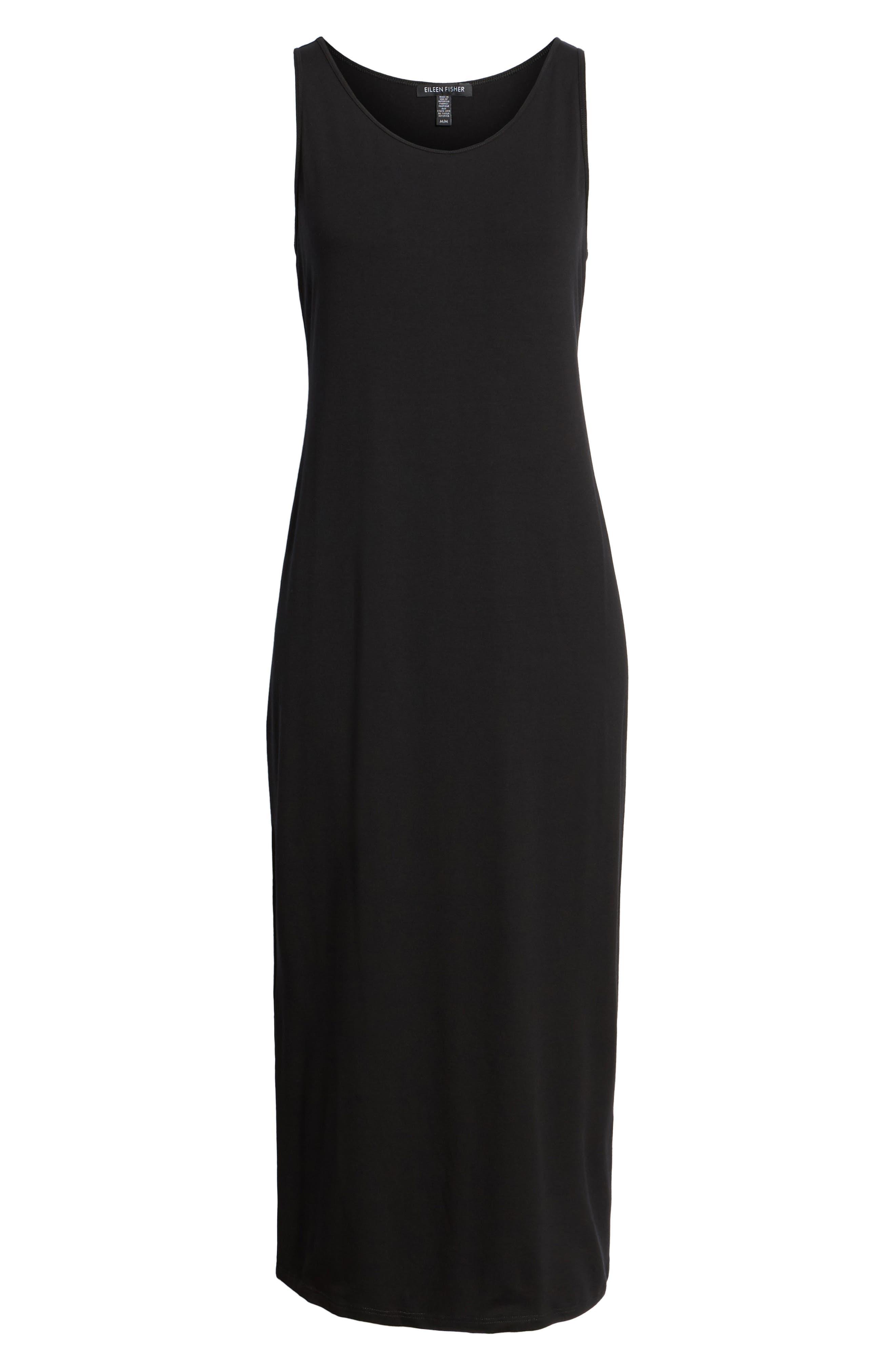 EILEEN FISHER, Midi Tank Dress, Alternate thumbnail 8, color, BLACK