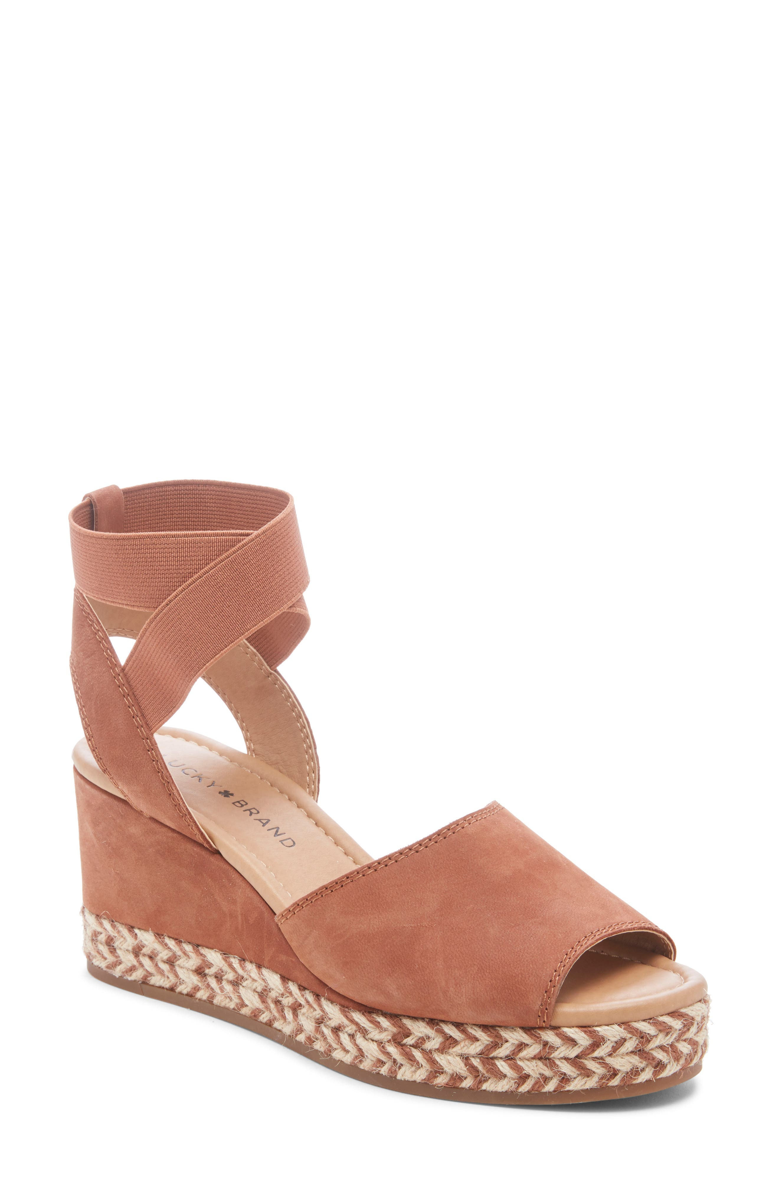Lucky Brand Bettanie Espadrille Wedge Sandal, Brown