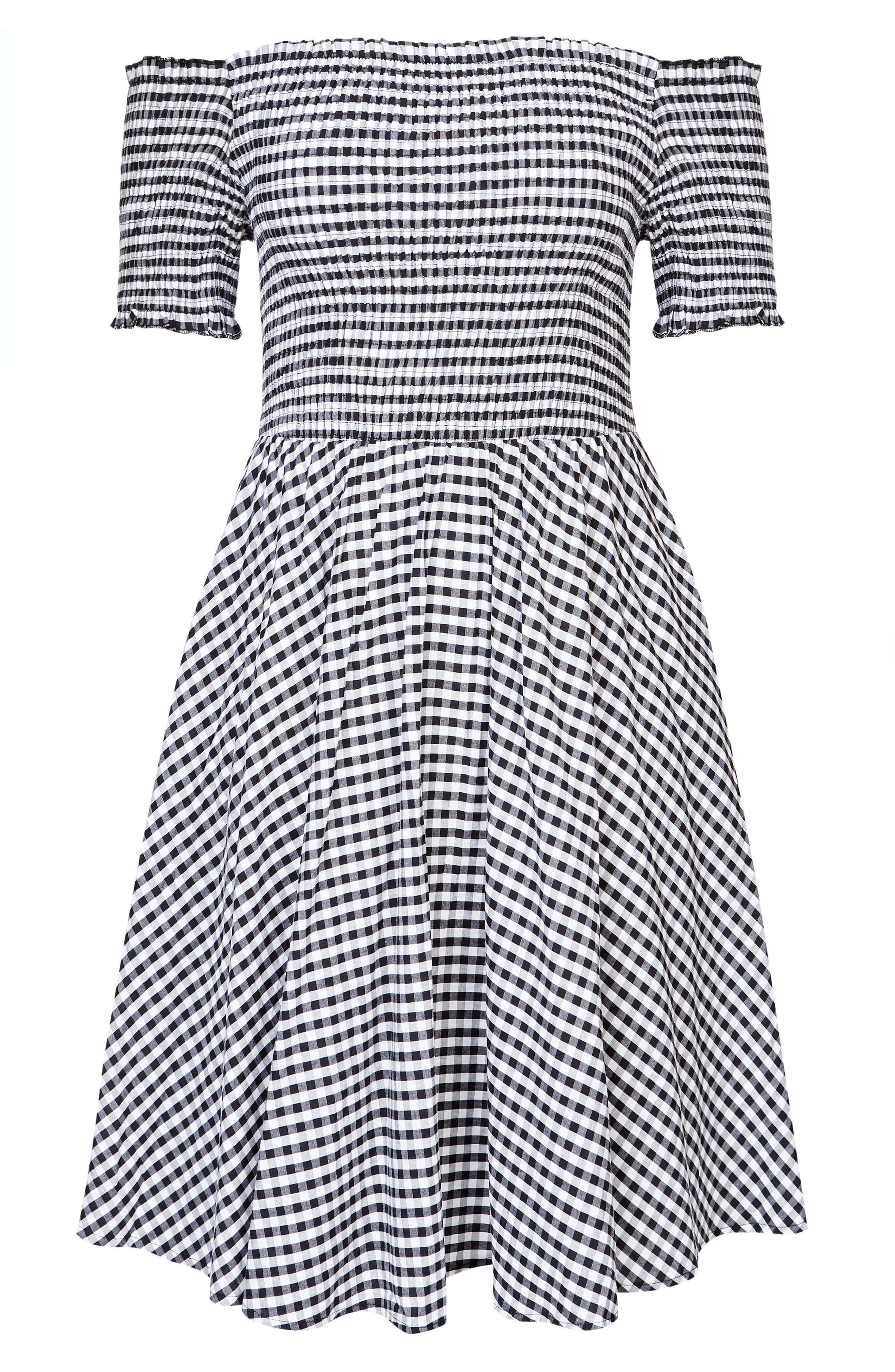 CITY CHIC, Gingham Off the Shoulder Fit & Flare Dress, Alternate thumbnail 3, color, GINGHAM