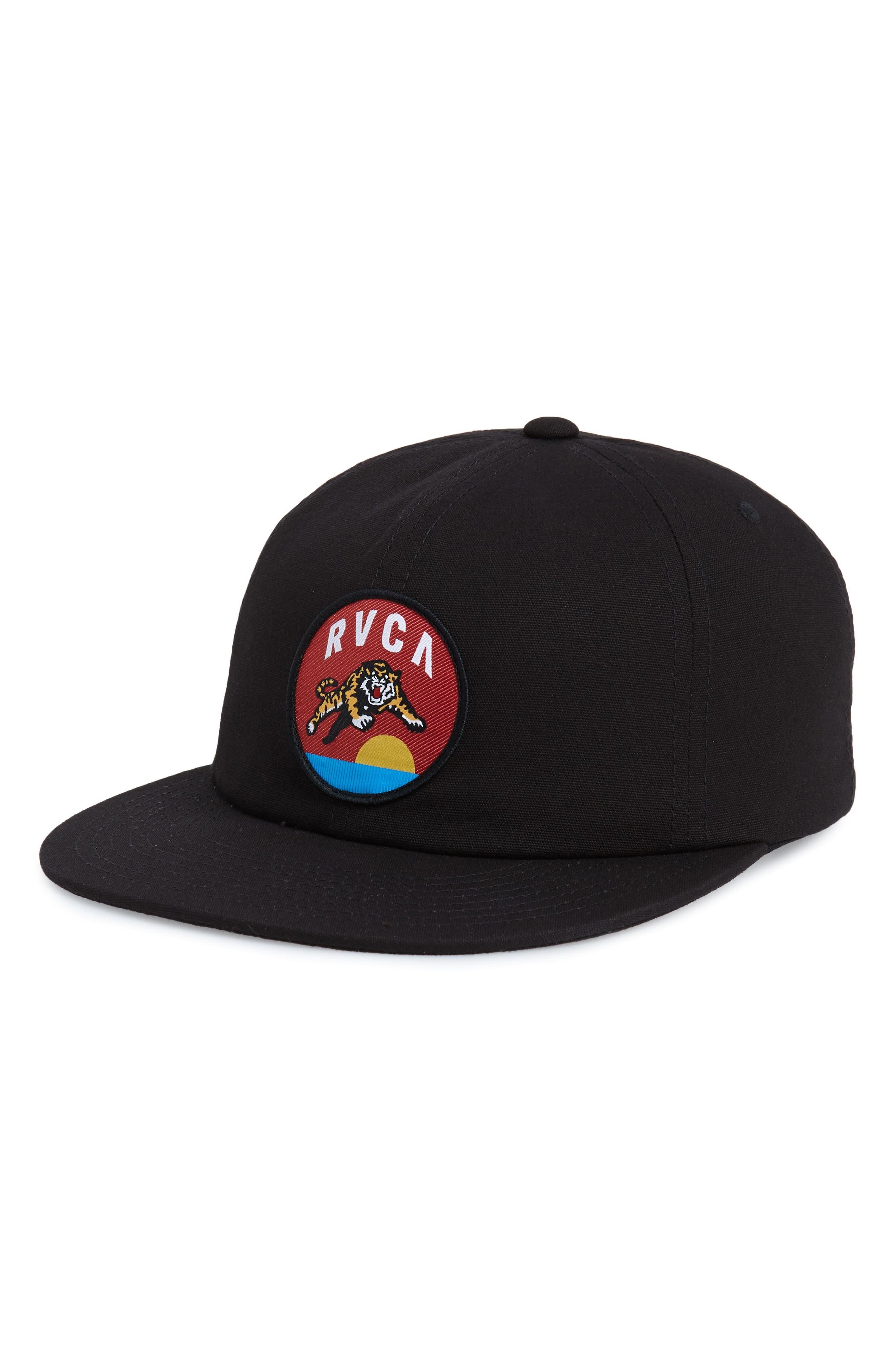 RVCA, Prowler Snapback Baseball Cap, Main thumbnail 1, color, BLACK