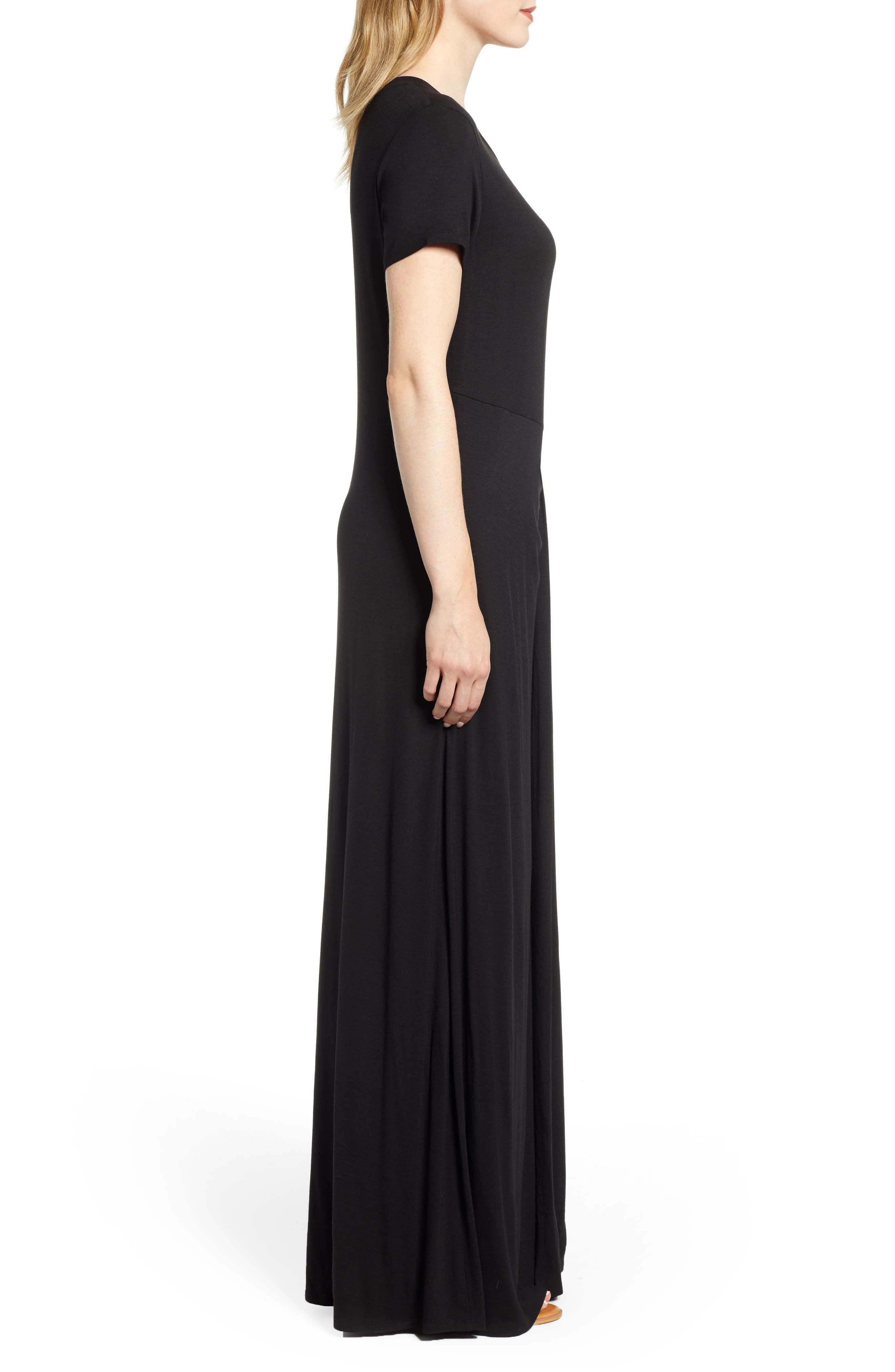 CASLON<SUP>®</SUP>, Front Gathered Maxi Dress, Alternate thumbnail 4, color, 001