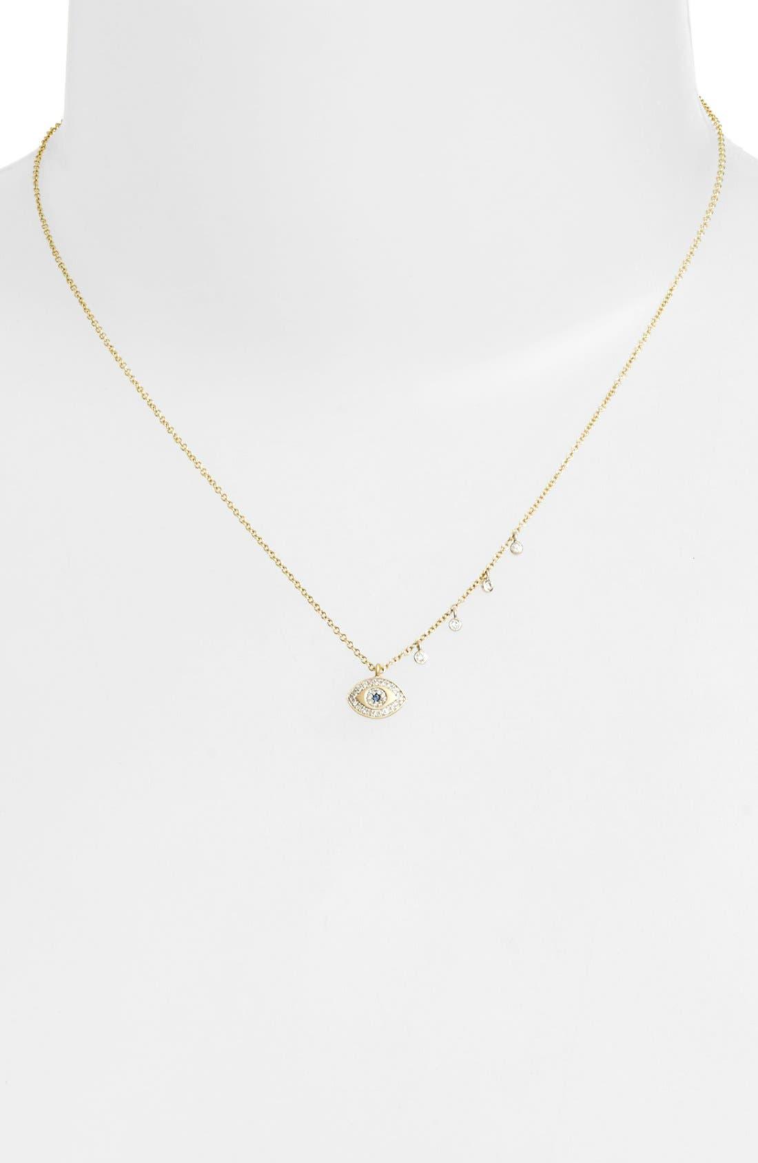 MEIRA T, Evil Eye Diamond Pendant Necklace, Alternate thumbnail 2, color, YELLOW GOLD