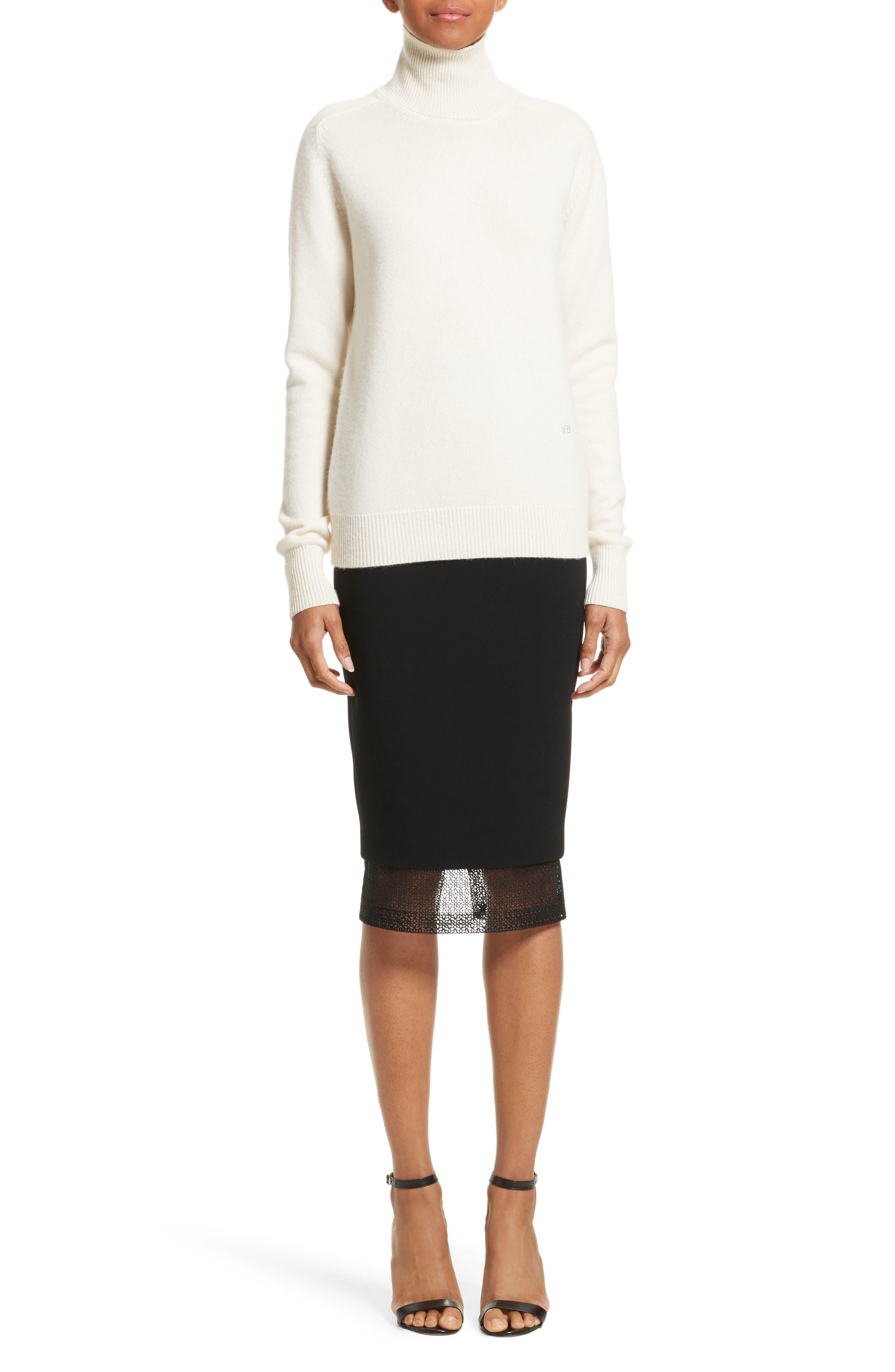 VICTORIA BECKHAM, Cashmere Turtleneck Sweater, Alternate thumbnail 6, color, VANILLA