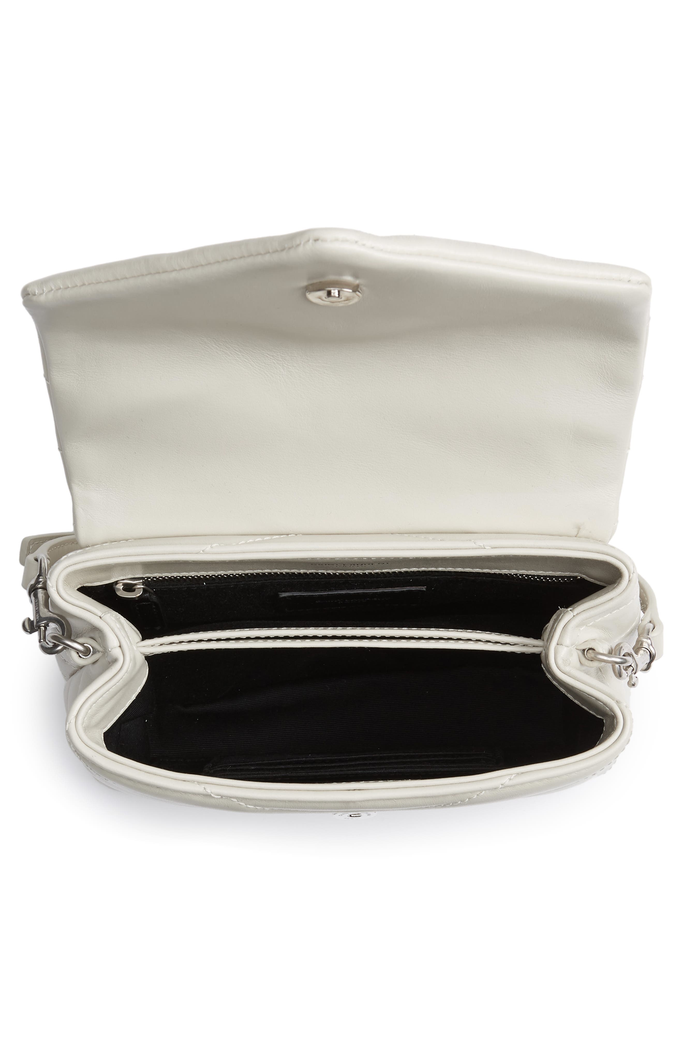 SAINT LAURENT, Toy Loulou Calfskin Leather Crossbody Bag, Alternate thumbnail 4, color, CREMA SOFT