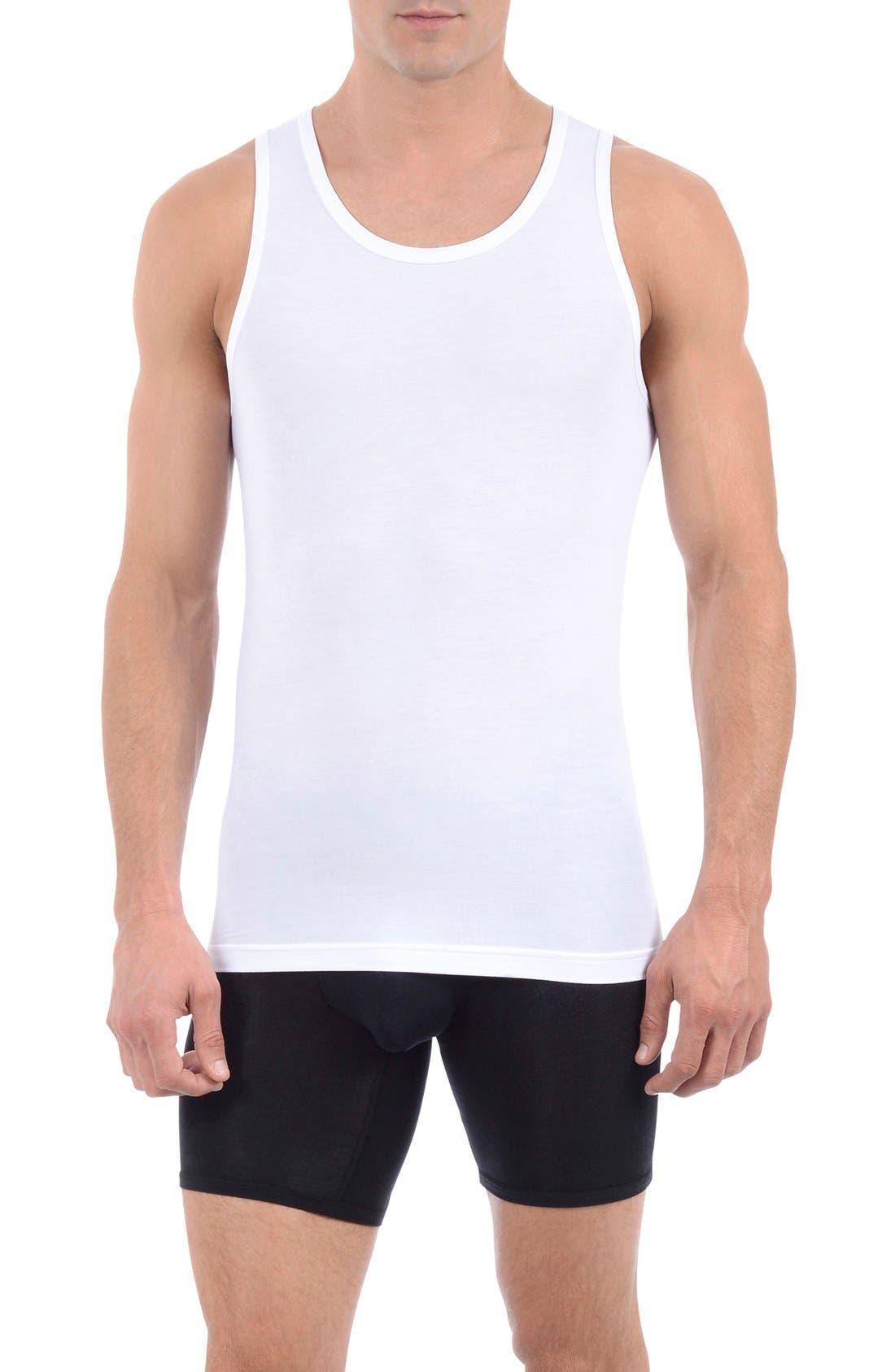 TOMMY JOHN, Second Skin Tank Undershirt, Main thumbnail 1, color, WHITE