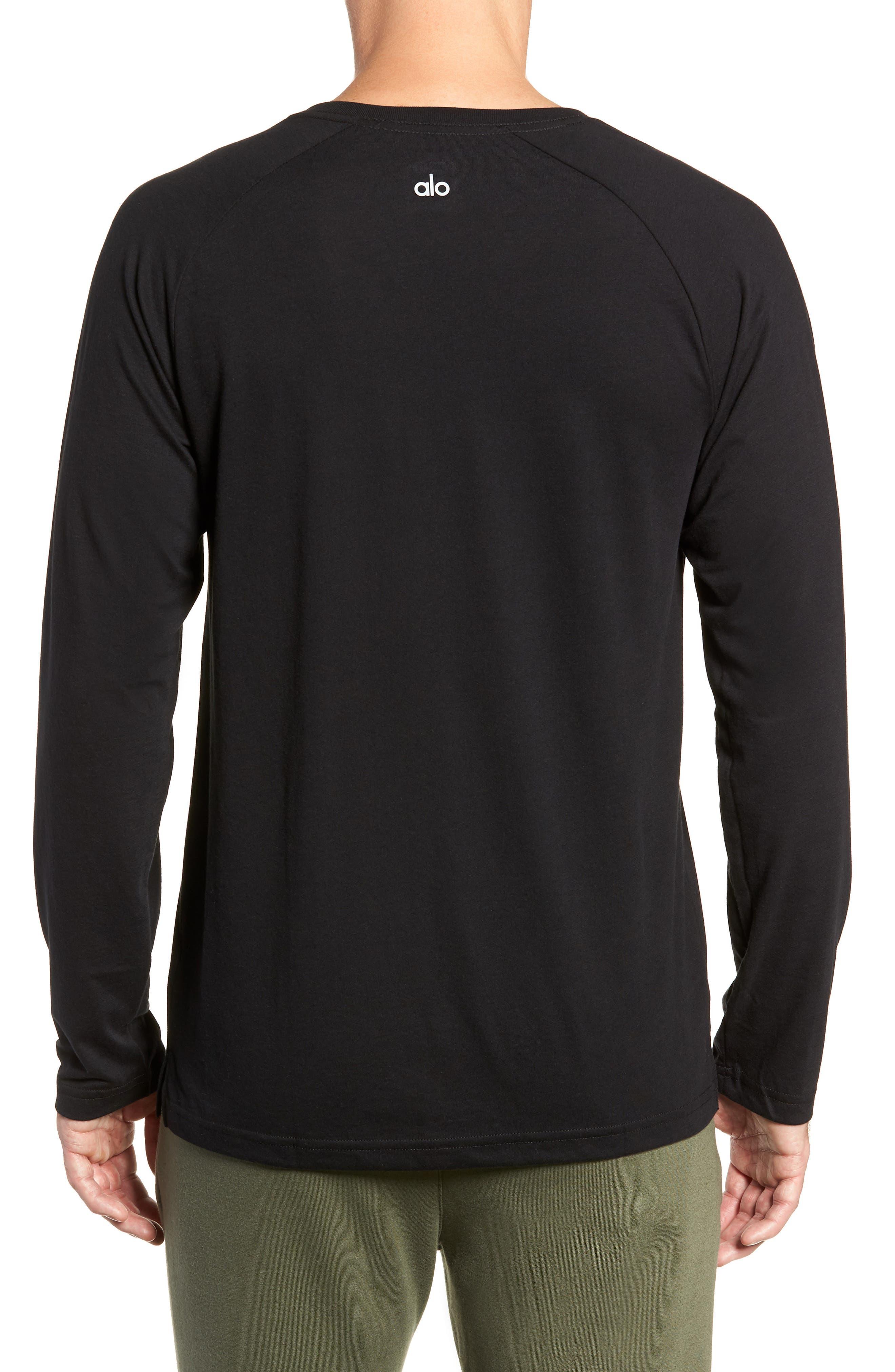 ALO, Triumph Long Raglan Sleeve V-Neck T-Shirt, Alternate thumbnail 2, color, SOLID BLACK TRIBLEND