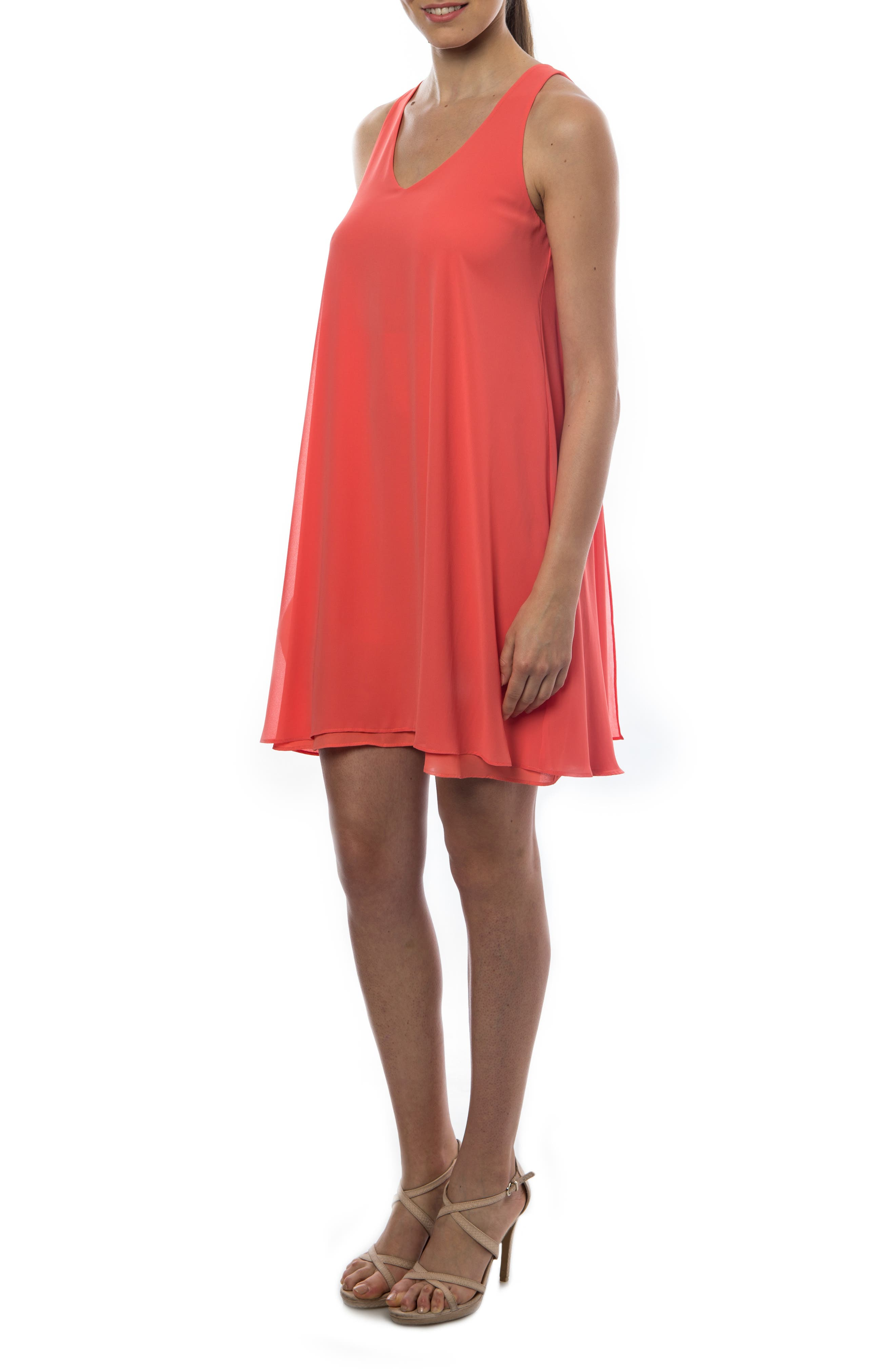 PIETRO BRUNELLI, 'Lago Di Como' High/Low Maternity Dress, Main thumbnail 1, color, ANEMONE/ CORAL