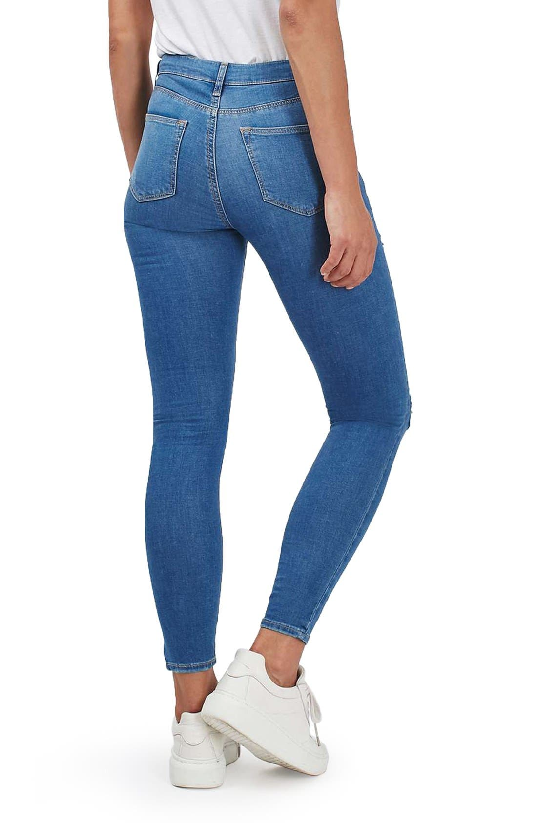 TOPSHOP, Moto Leigh Super Ripped Ankle Skinny Jeans, Alternate thumbnail 2, color, 400