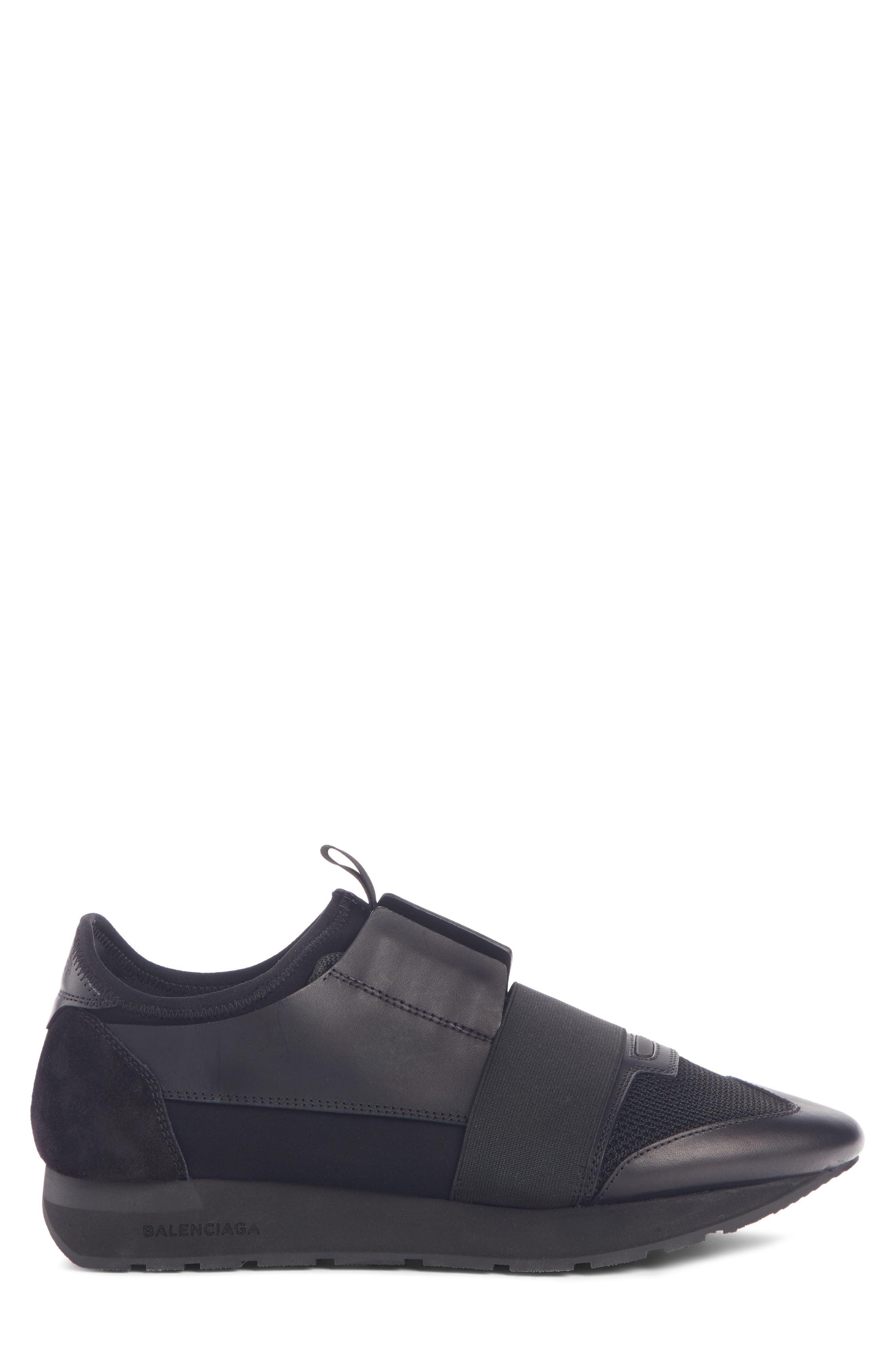 BALENCIAGA, Race Runner Sneaker, Alternate thumbnail 3, color, BLACK/ BLACK/ BLACK
