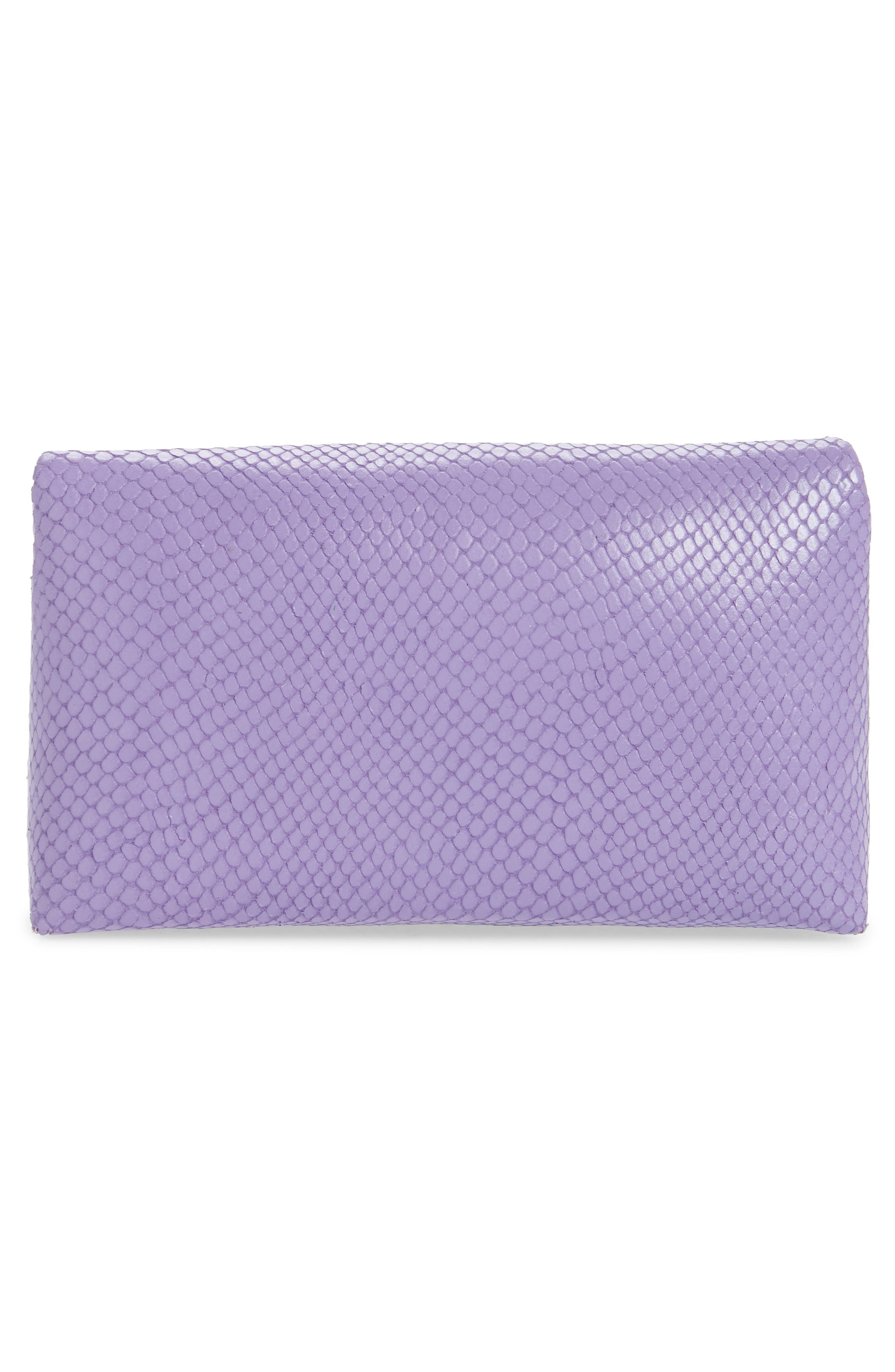 DRIES VAN NOTEN, Small Python Embossed Leather Envelope Clutch, Alternate thumbnail 3, color, LILAC