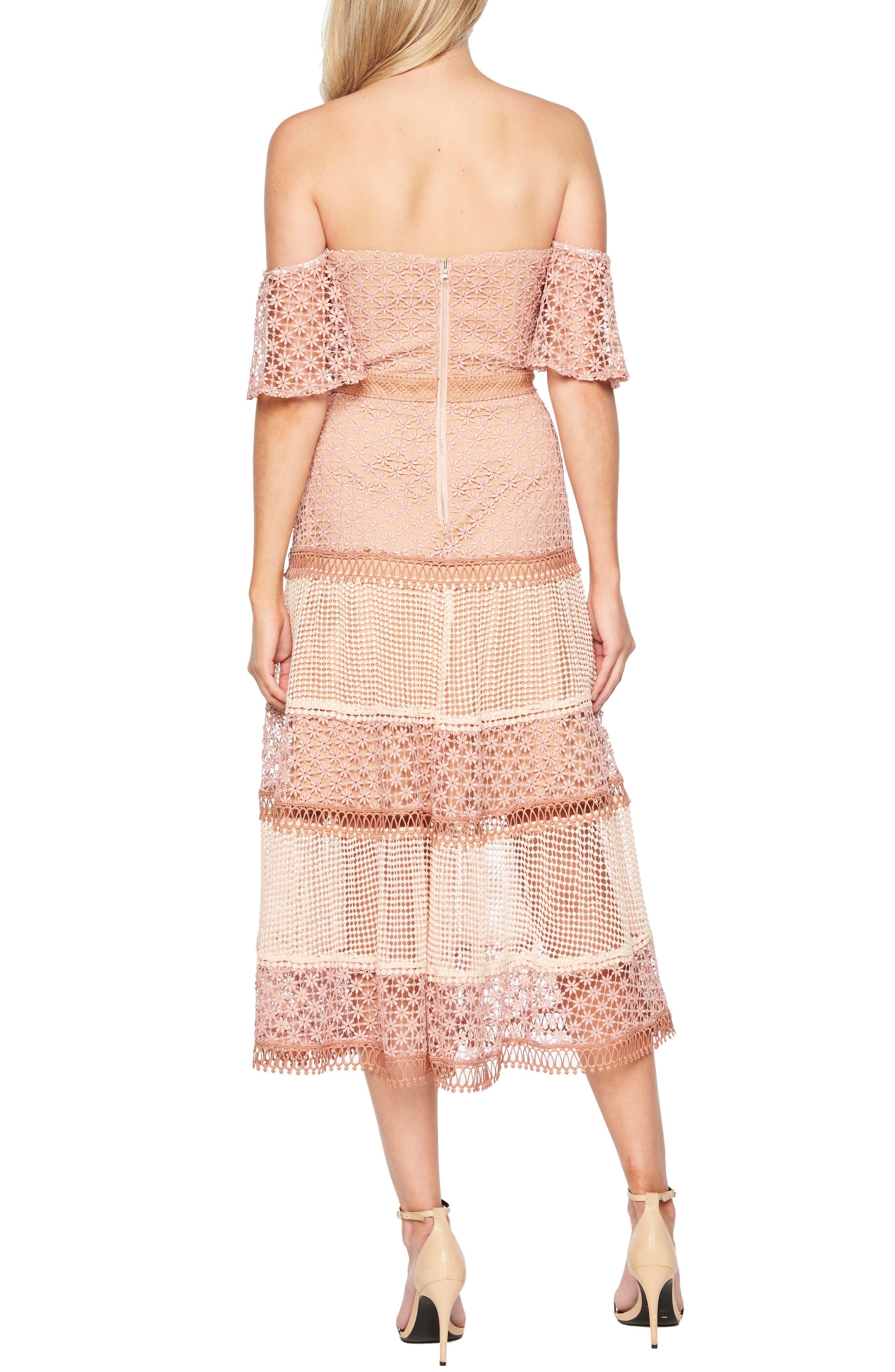 BARDOT, Kristen Off the Shoulder Lace Midi Dress, Alternate thumbnail 2, color, 680