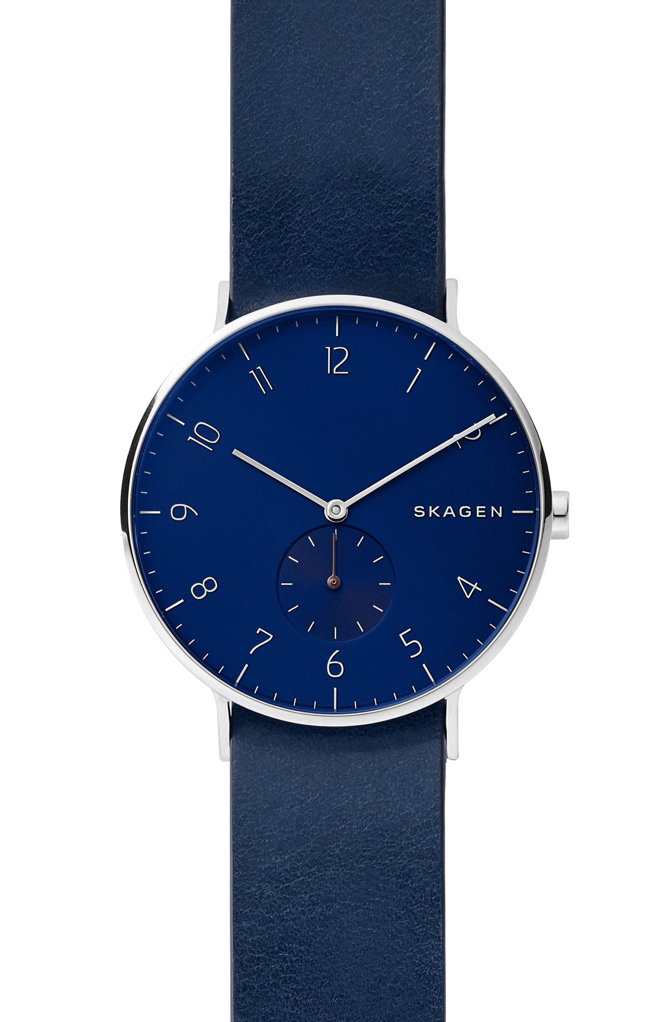 SKAGEN, Aaren Reversible Leather Strap Watch, 40mm, Main thumbnail 1, color, BLUE/ SILVER