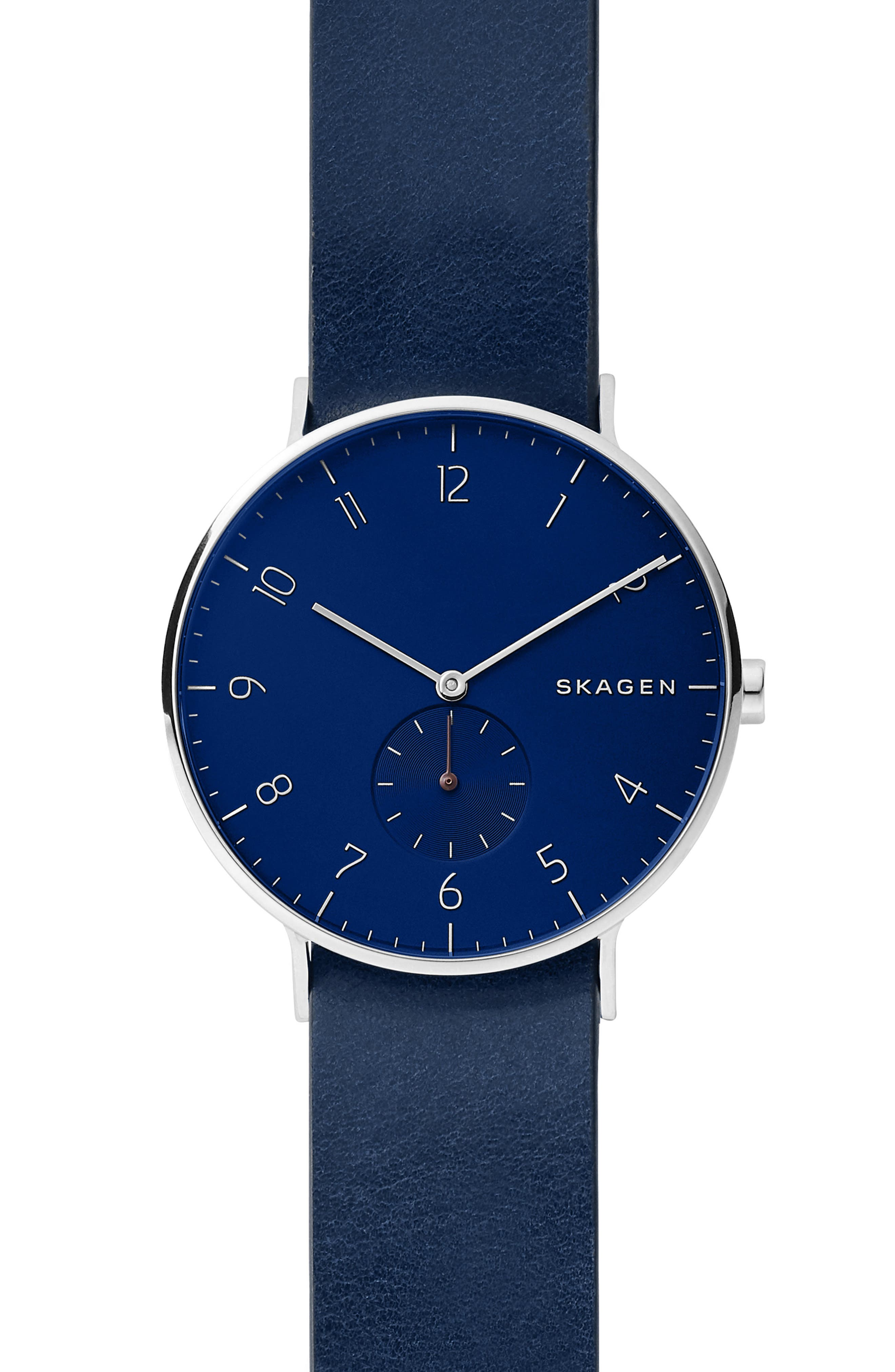 SKAGEN Aaren Reversible Leather Strap Watch, 40mm, Main, color, BLUE/ SILVER
