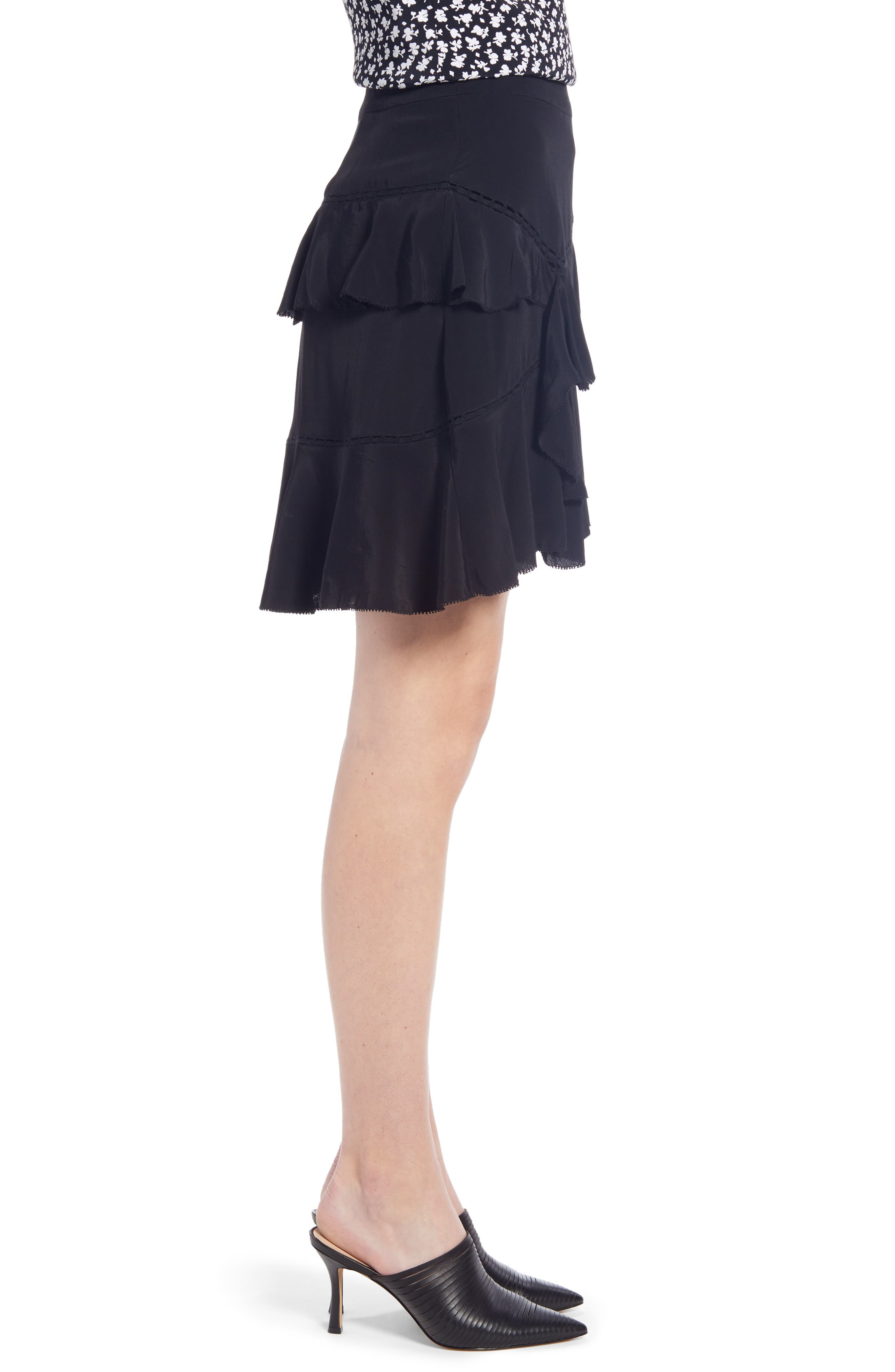 SOMETHING NAVY, Tiered Ruffle High/Low Miniskirt, Alternate thumbnail 5, color, BLACK