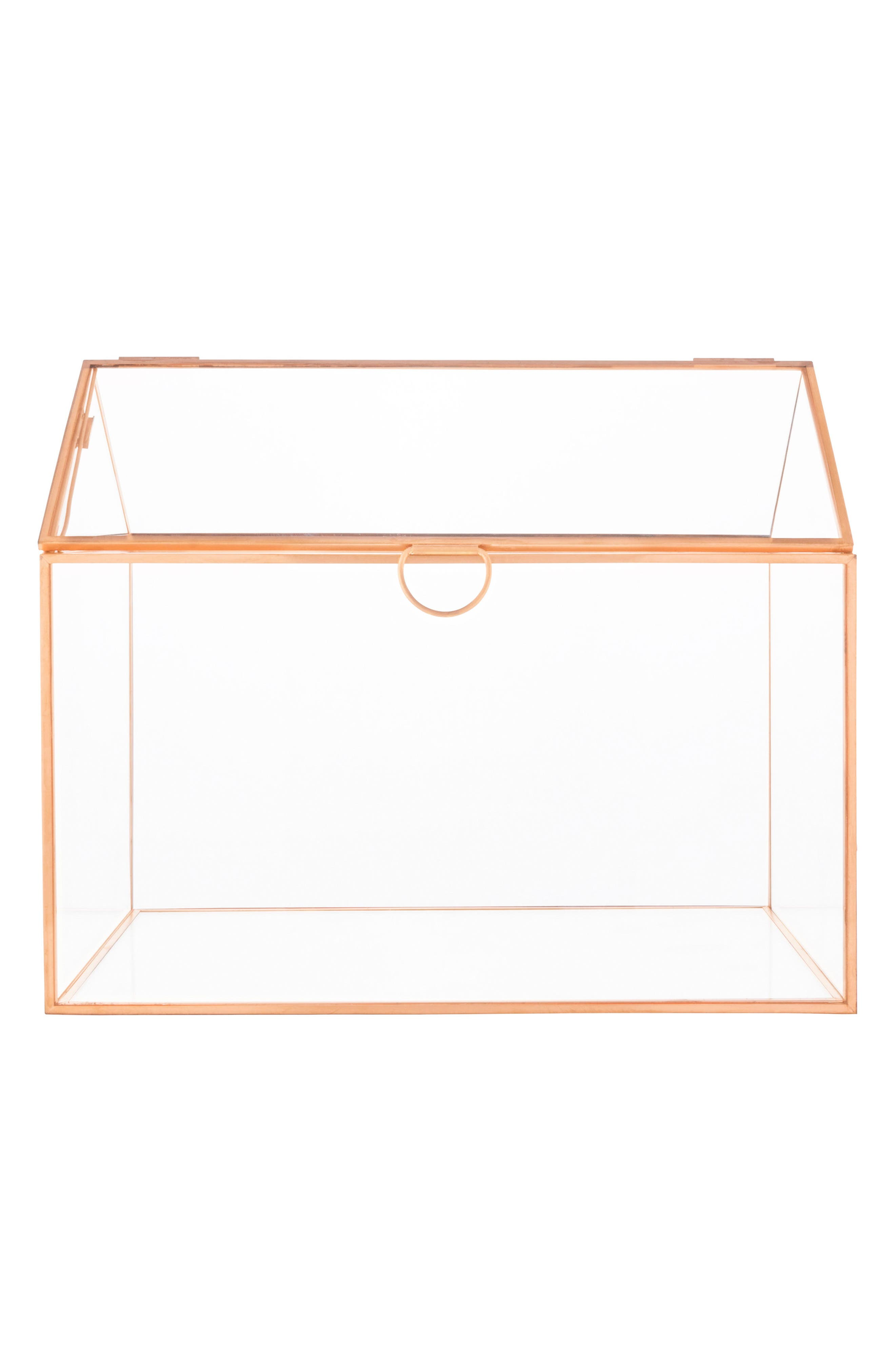 CATHY'S CONCEPTS, Monogram Rose Gold Reception Card Holder, Main thumbnail 1, color, ROSE GOLD