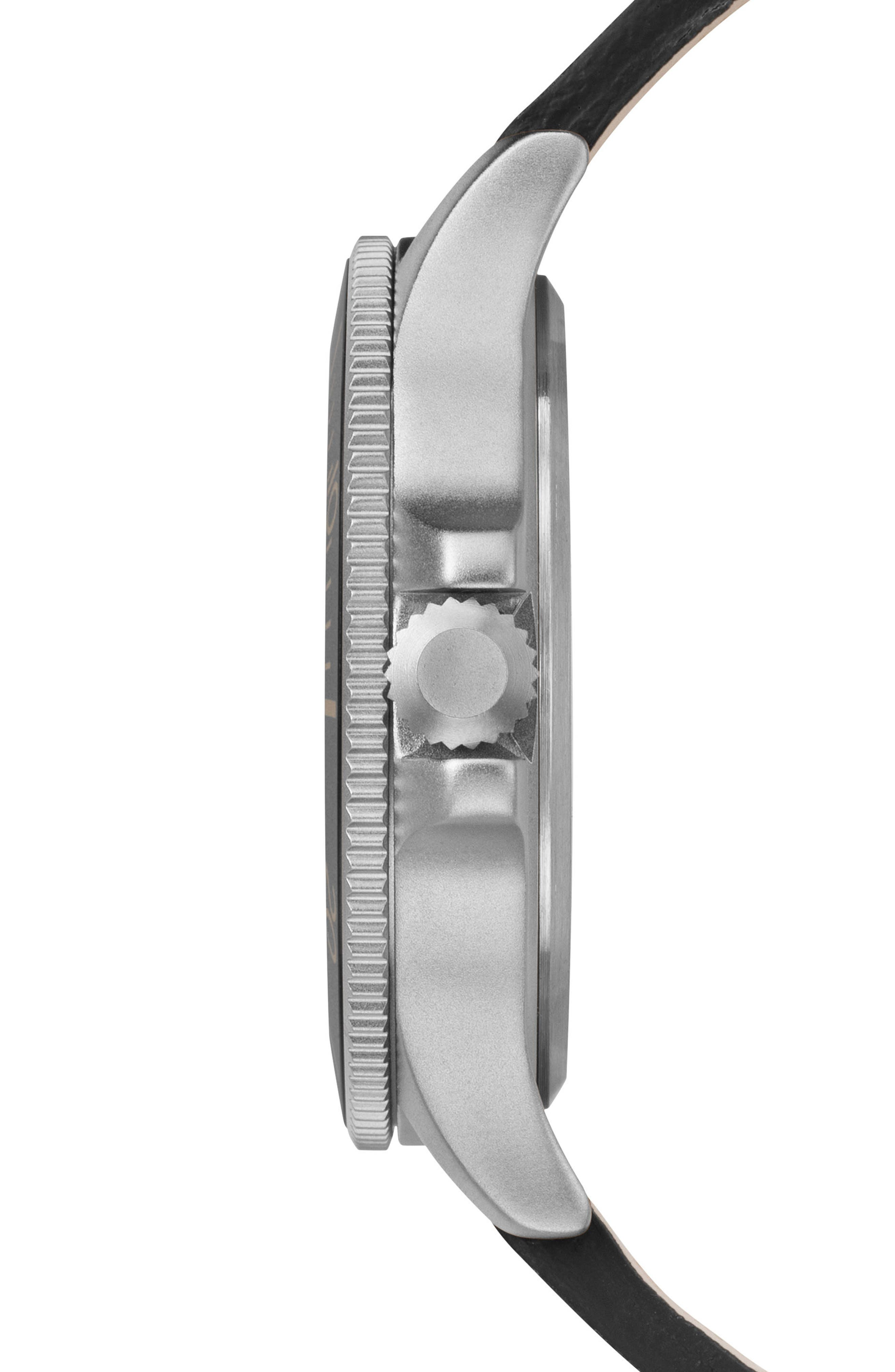 TIMEX<SUP>®</SUP>, Allied Leather Strap Watch, 43mm, Alternate thumbnail 2, color, BLACK/ SILVER
