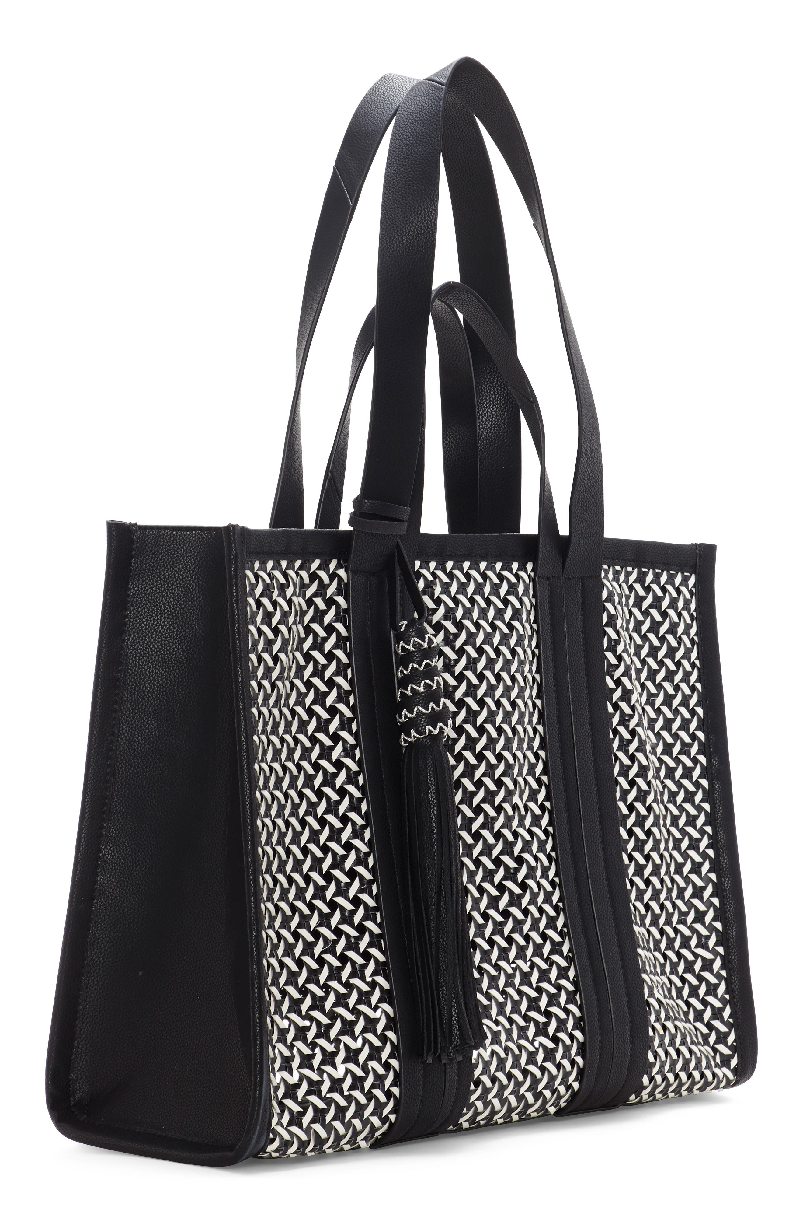 VINCE CAMUTO, Indra Woven Rattan & Leather Tote, Alternate thumbnail 4, color, 001