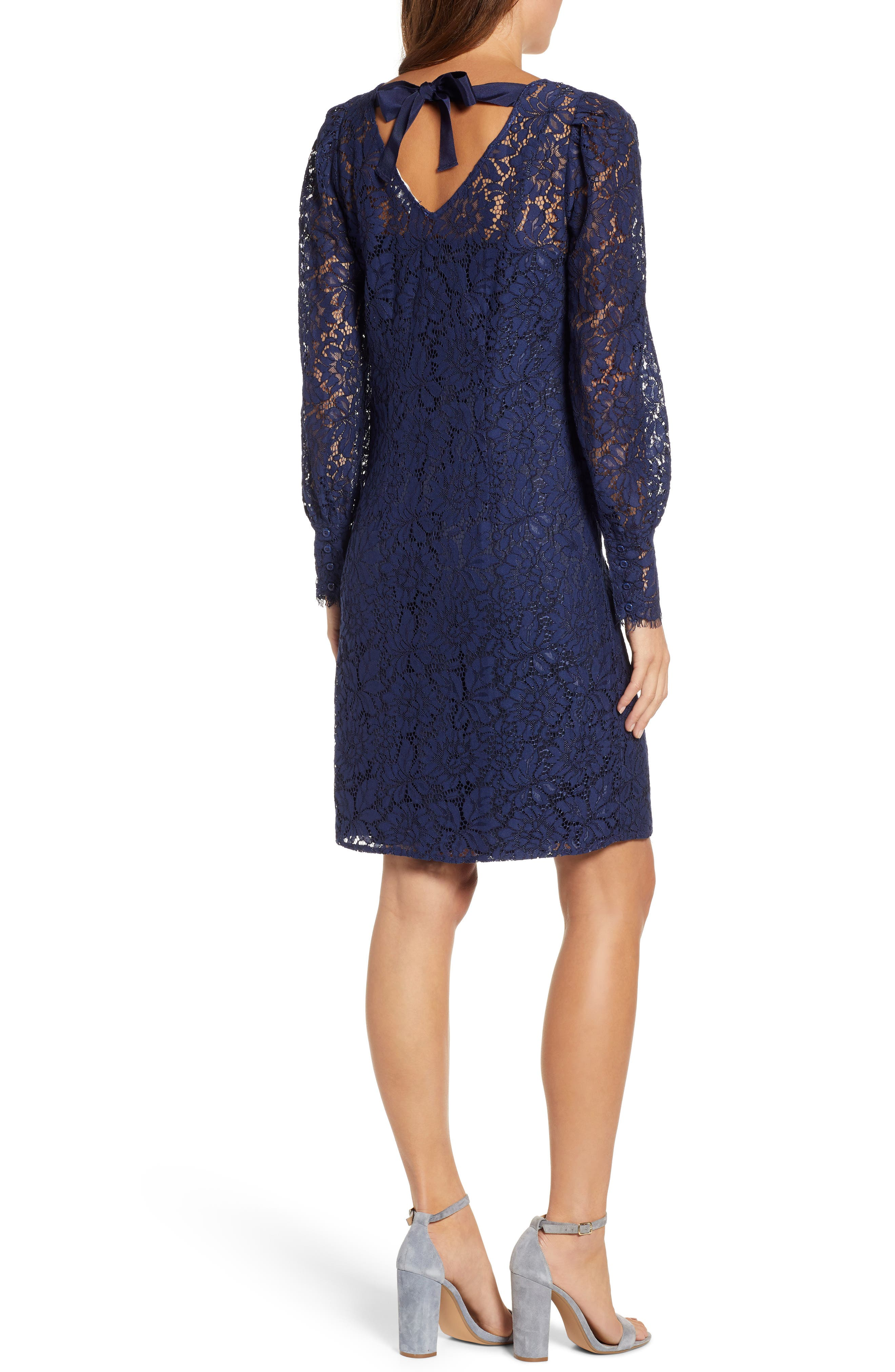 ROSEMUNDE, Tie Back Lace Dress, Alternate thumbnail 2, color, NAVY PEONY