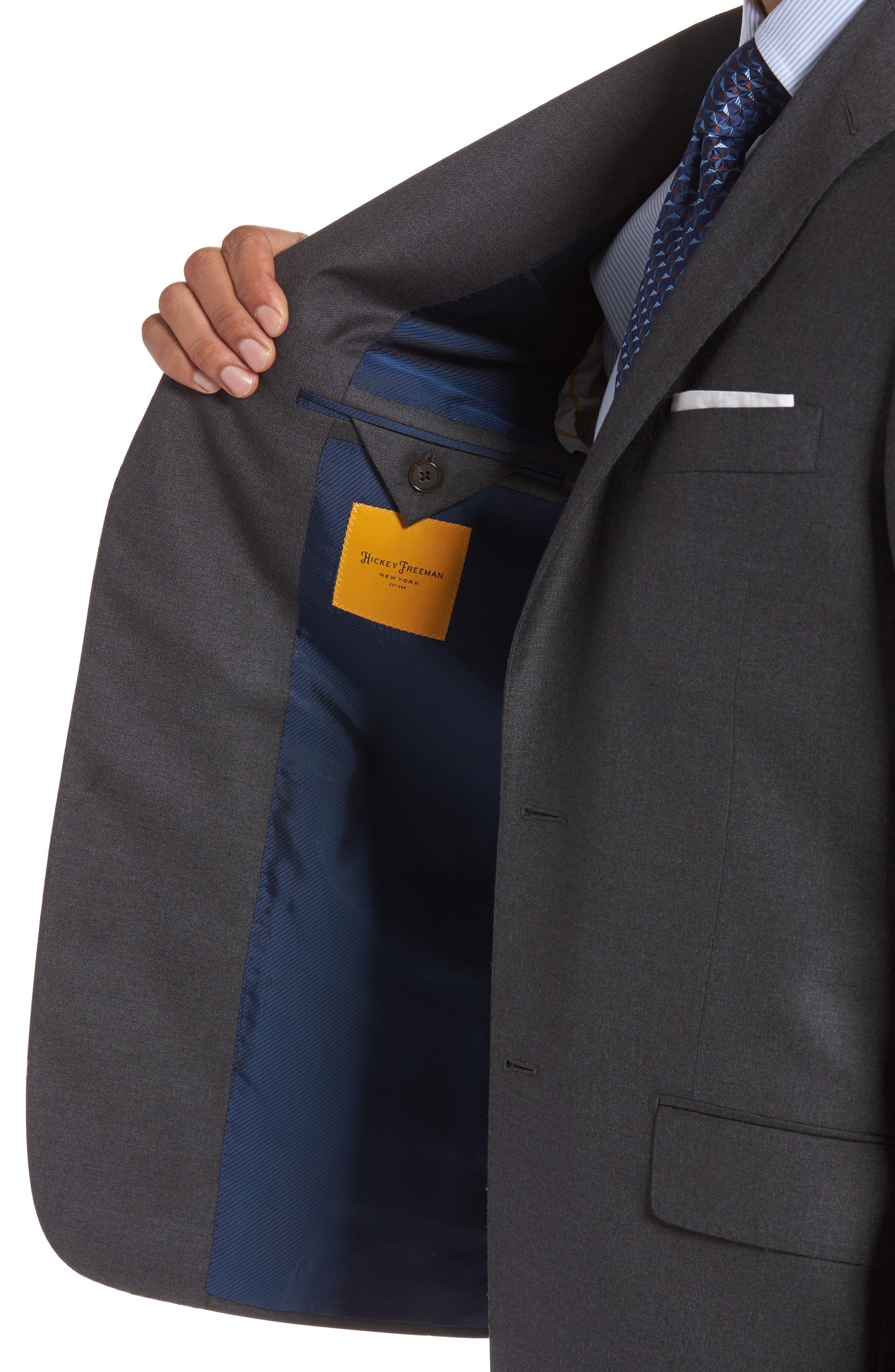 HICKEY FREEMAN, Classic B Fit Loro Piana Wool Suit, Alternate thumbnail 4, color, GREY