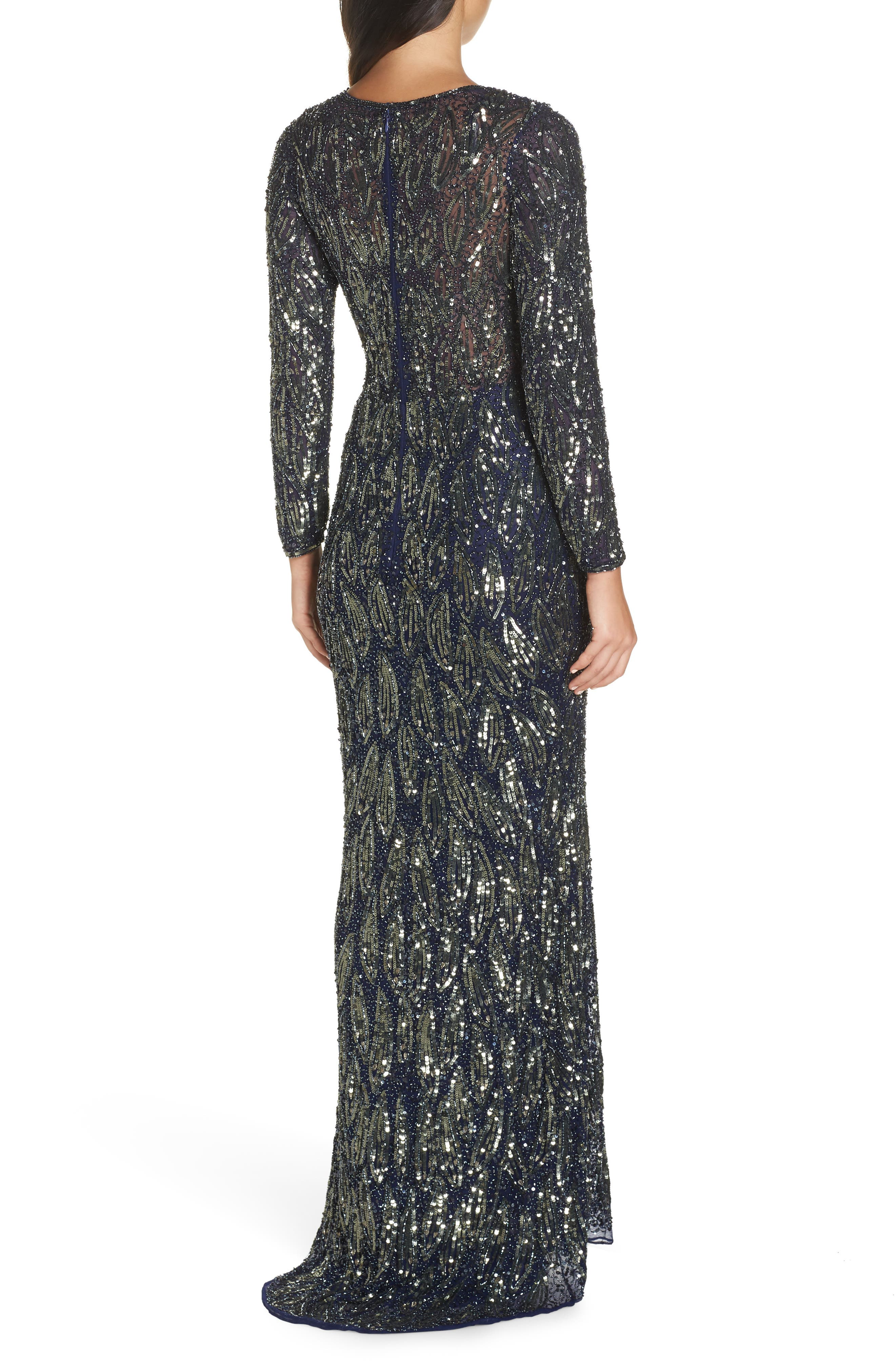 MAC DUGGAL, Beaded Long Sleeve Gown, Alternate thumbnail 2, color, MIDNIGHT