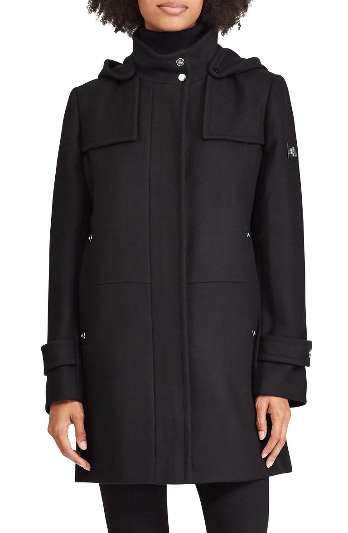LAUREN RALPH LAUREN, Wool Blend Jacket, Main thumbnail 1, color, BLACK