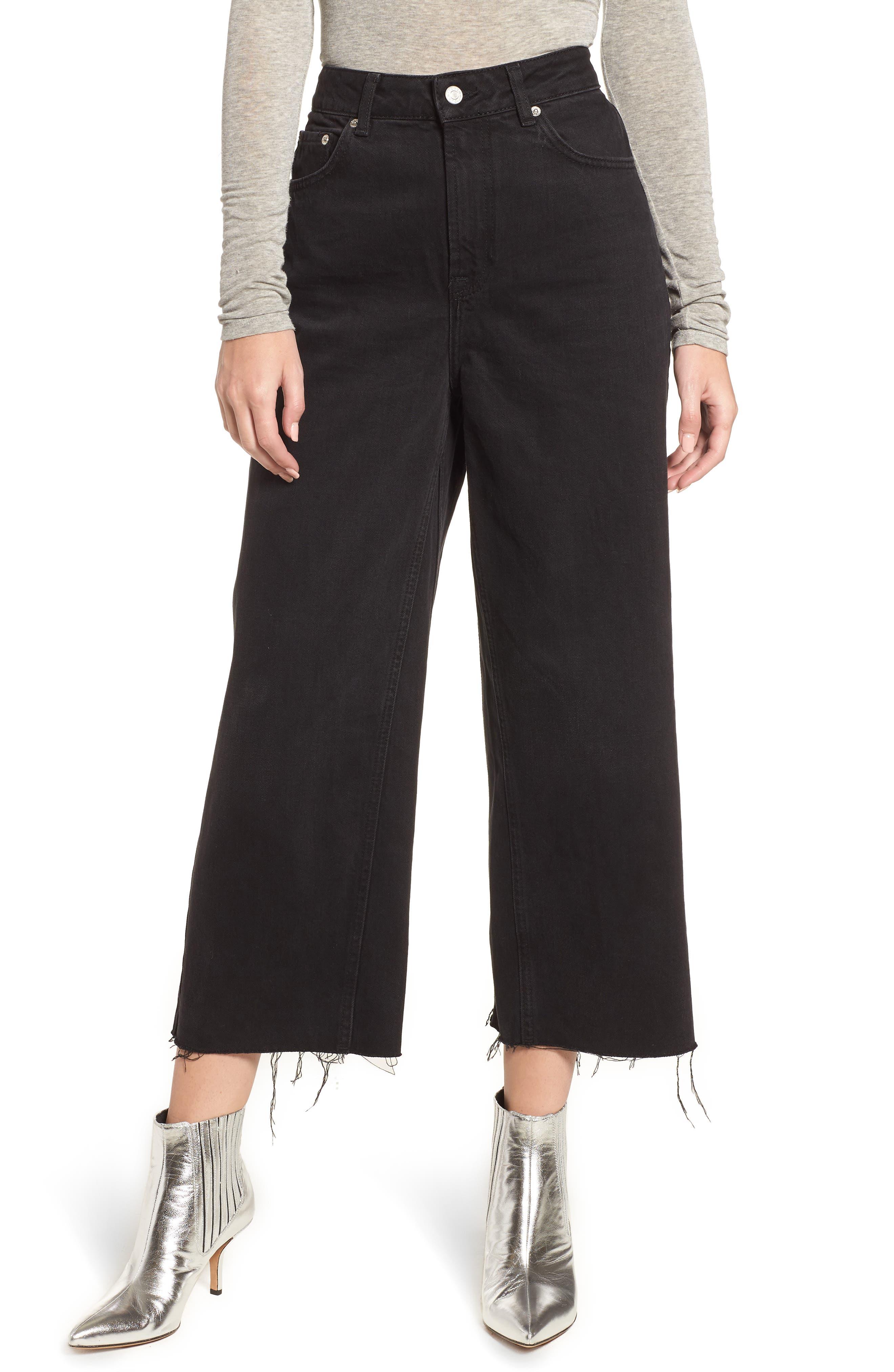 TOPSHOP, Wide Leg Crop Jeans, Main thumbnail 1, color, WASHED BLACK