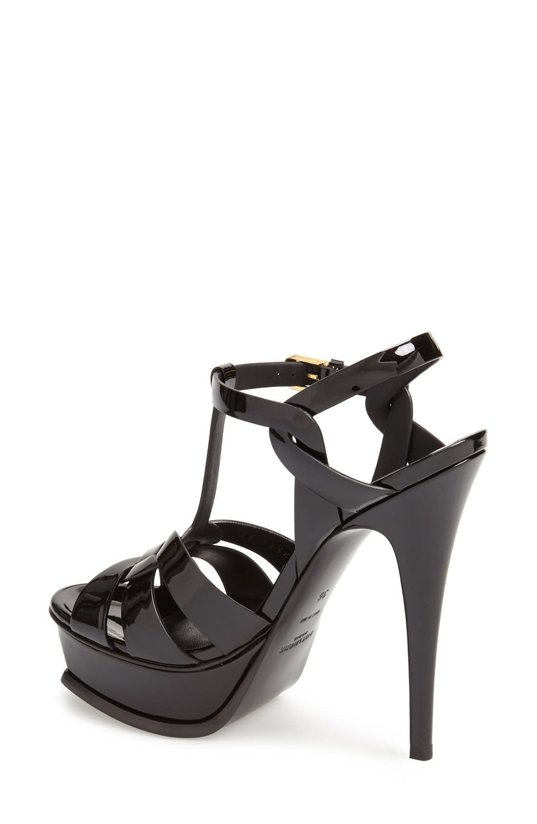 SAINT LAURENT, Tribute T-Strap Platform Sandal, Alternate thumbnail 2, color, BLACK PATENT